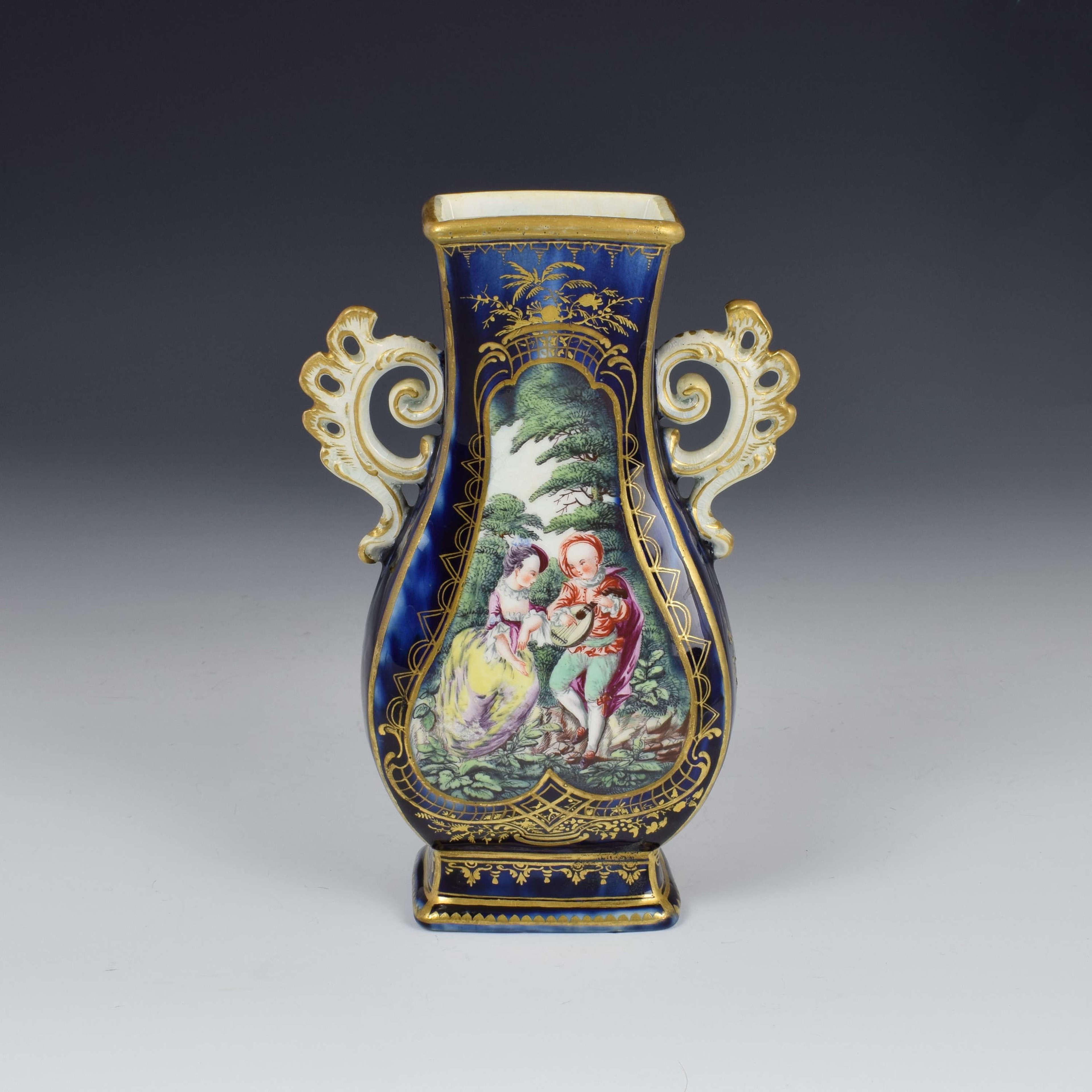 Chelsea Porcelain Gold Anchor Period Blue Ground Vase c.1765