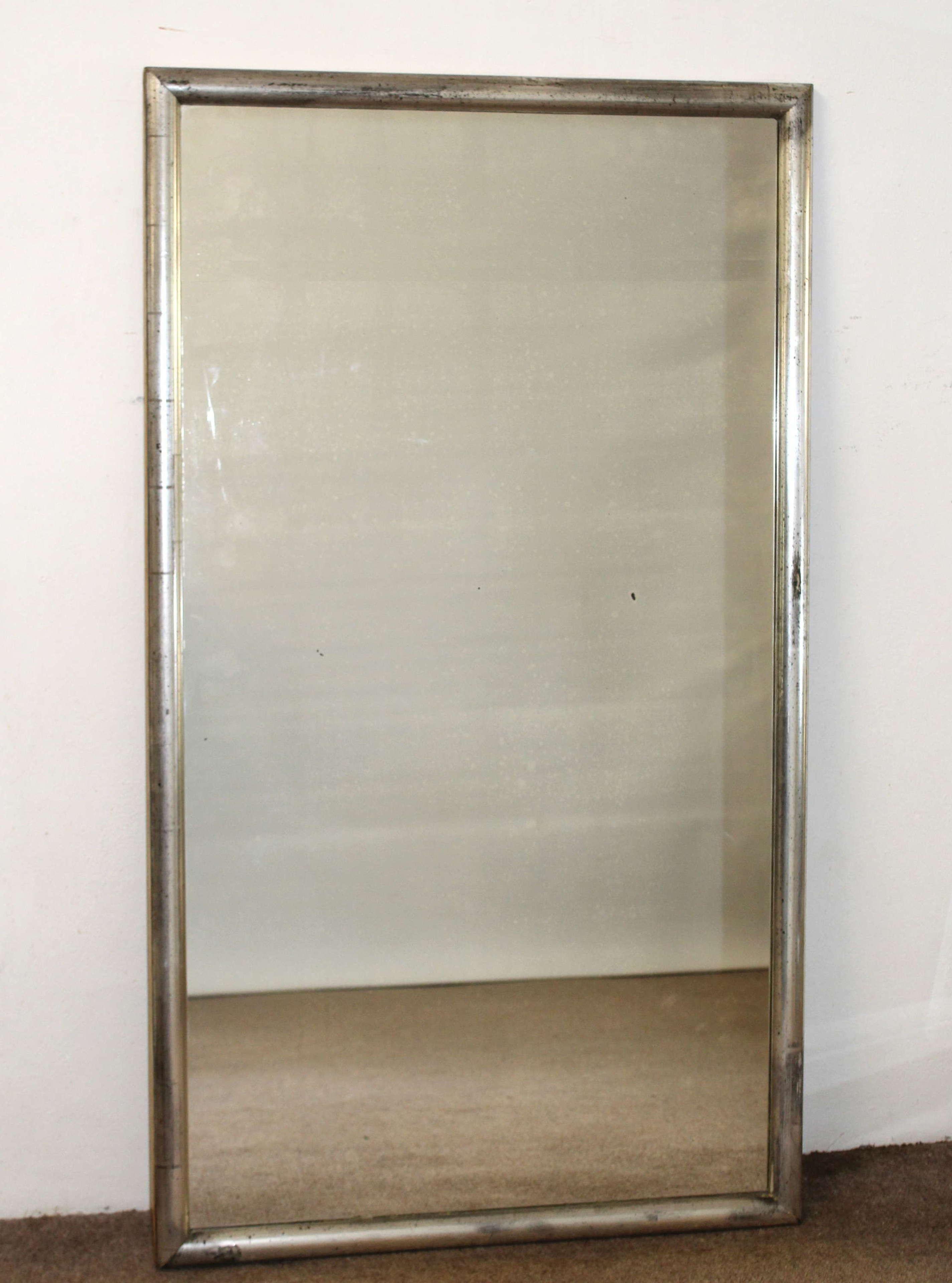 Antique French Bistro mirror with silverleafed frame