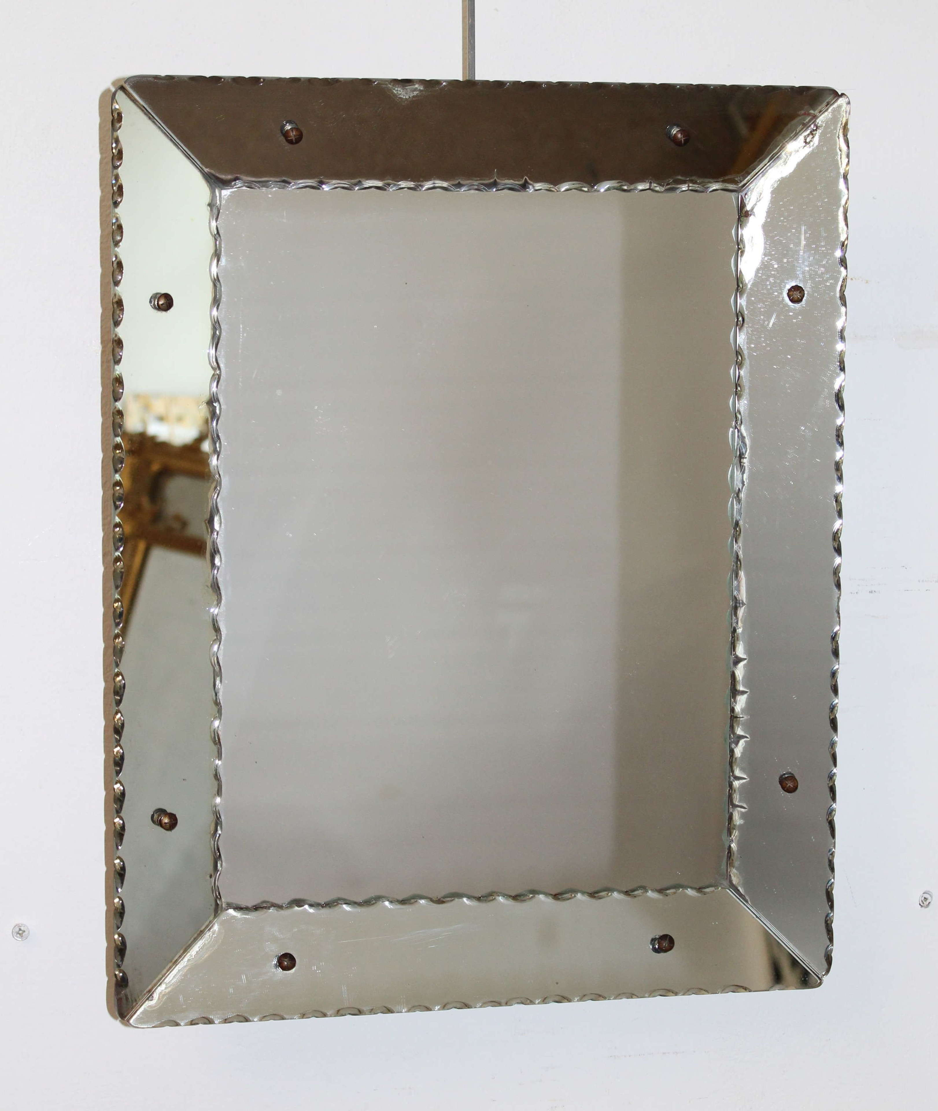 Vintage 1940s all glass mirror with nibbed edges