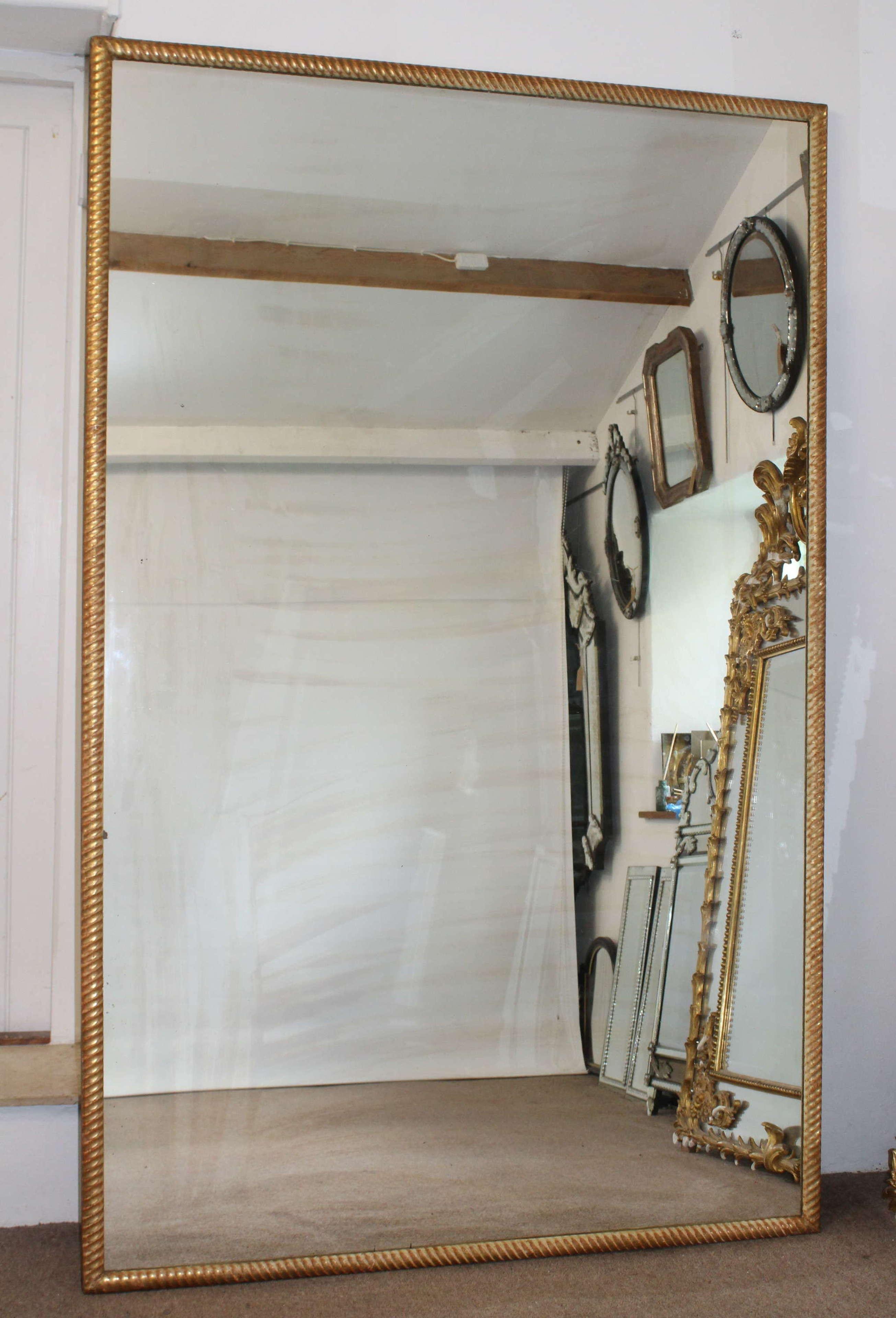 Huge antique gilt ropetwist framed French mirror