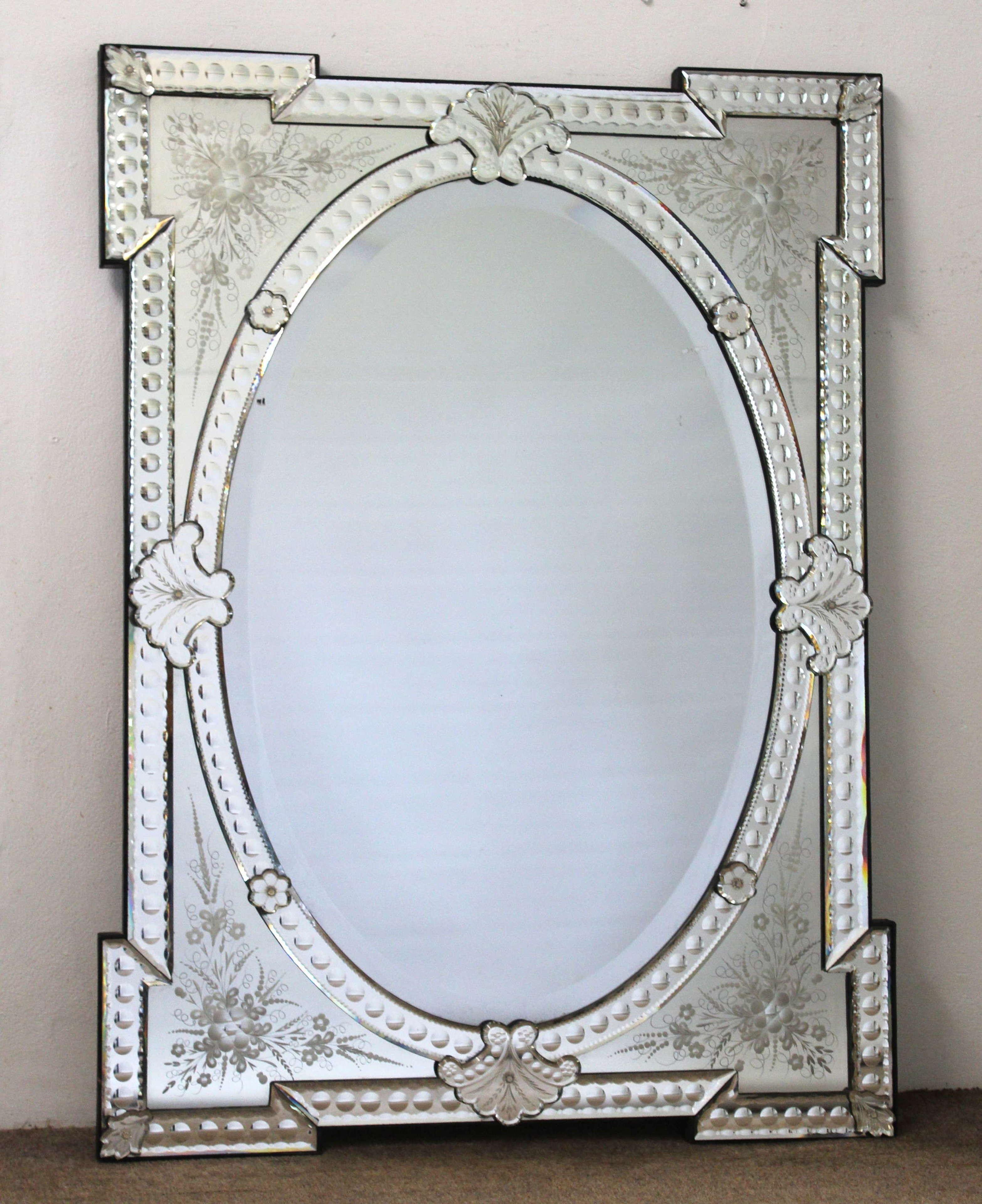 Antique rectangular Venetian mirror with oval centre