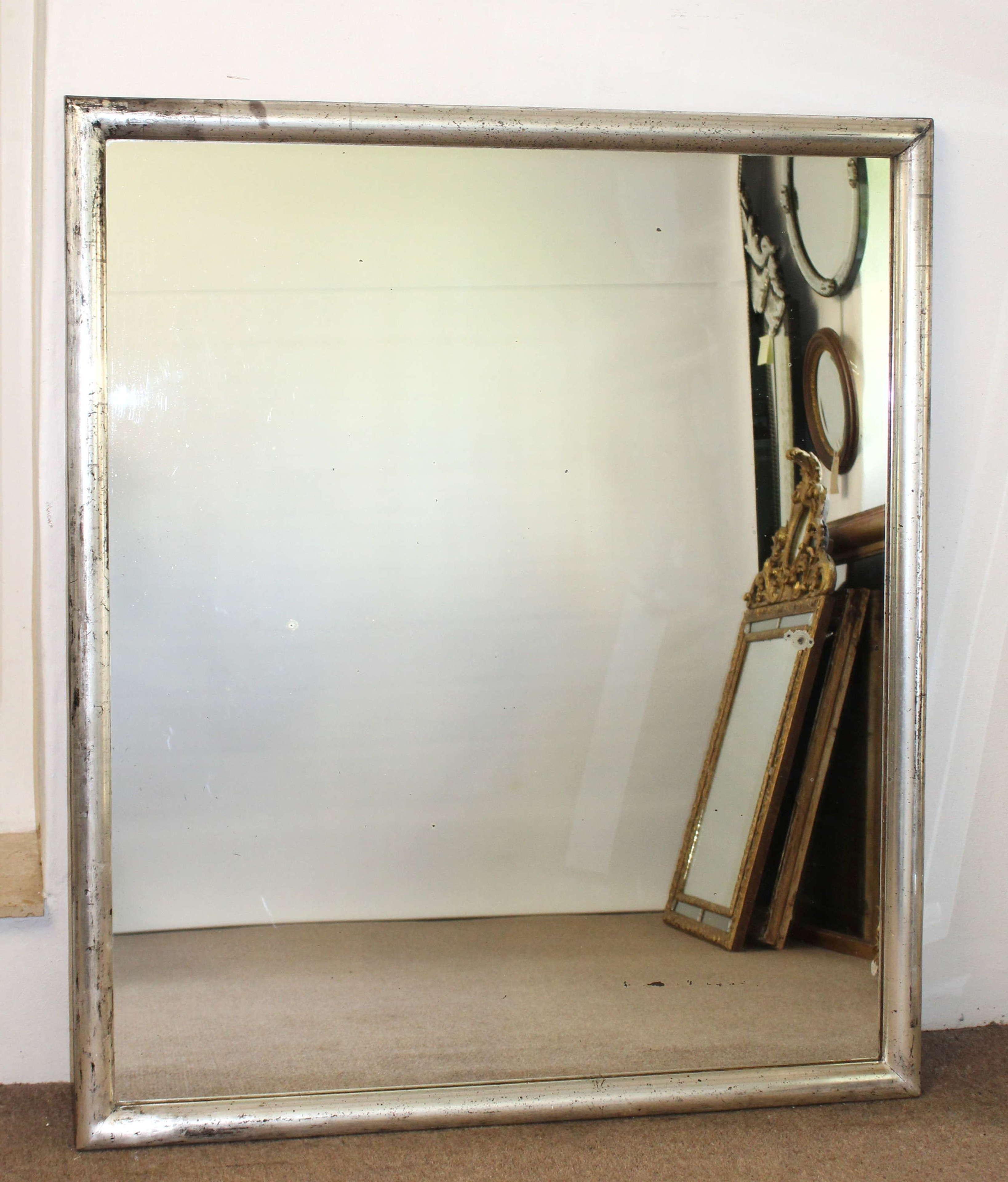 Near square antique French silver Bistro mirror