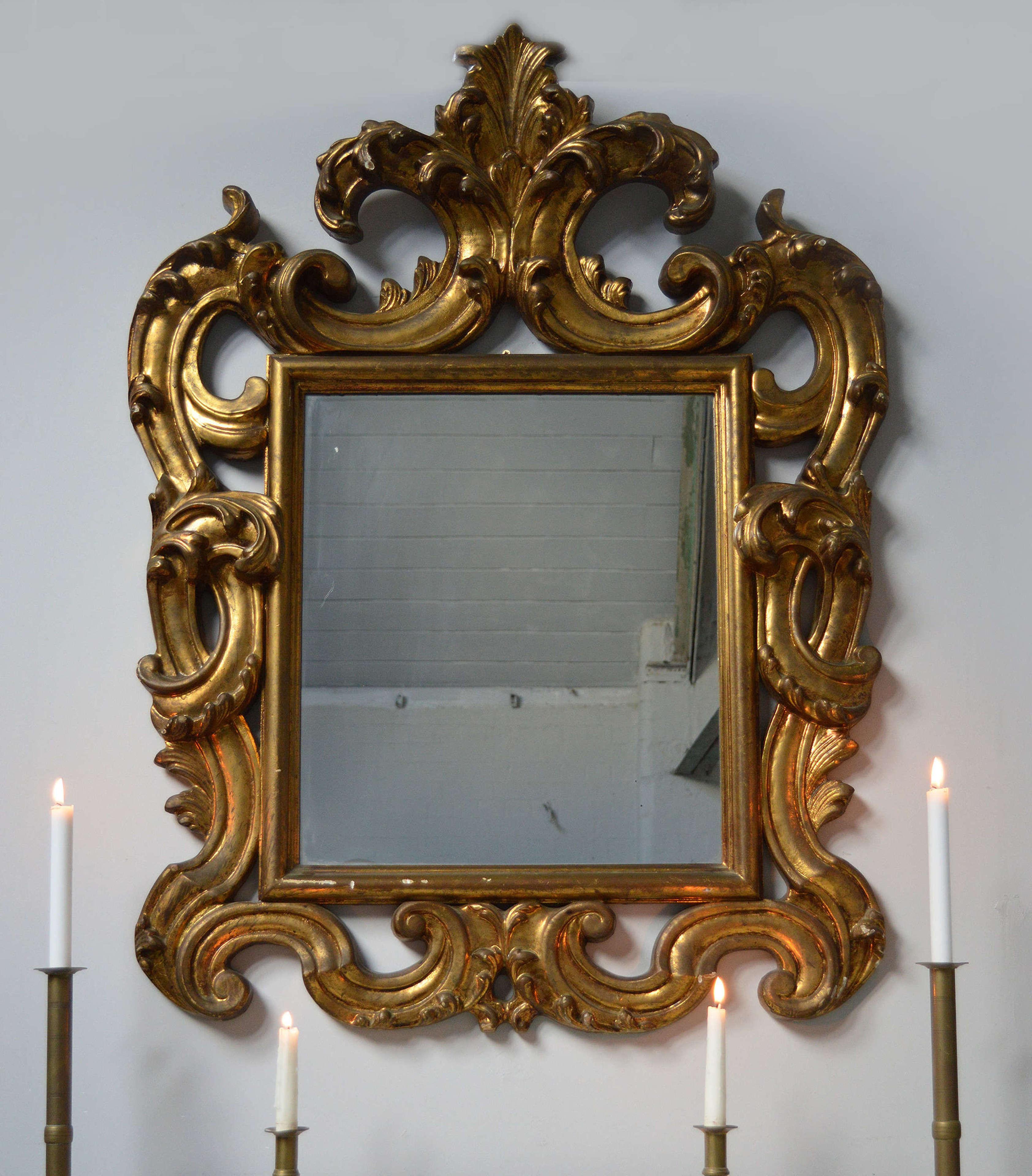 Oversize gilt wood Florentine Wall Mirror
