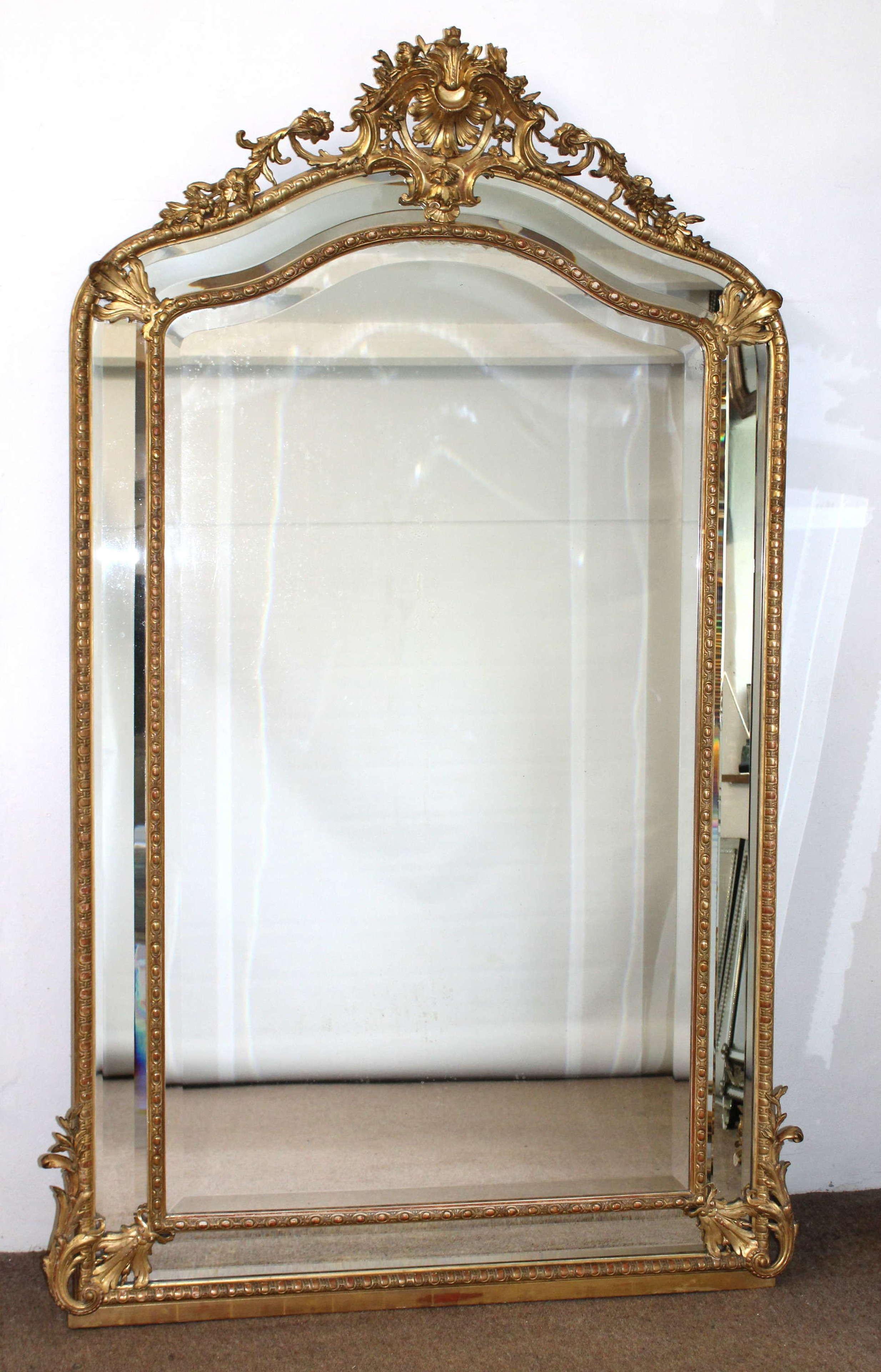 Large decorative portrait antique French mirror