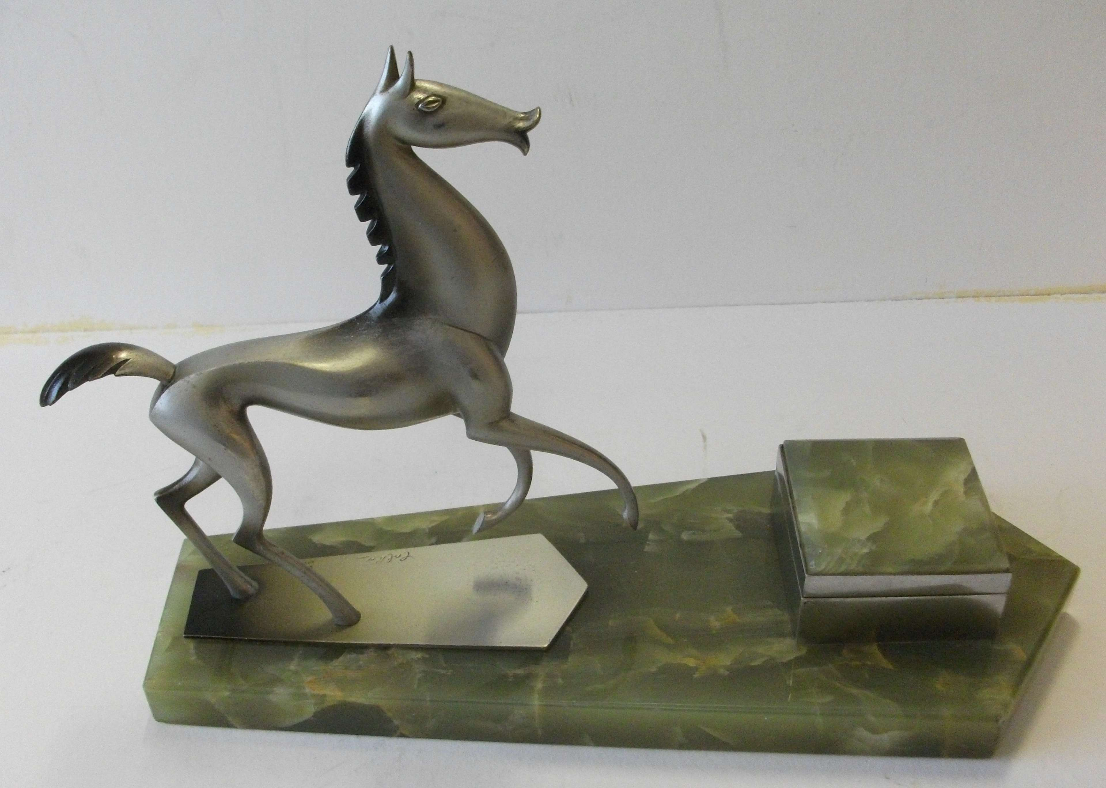 HAGENAUER ART DECO ORIGINAL 1930's BRONZE HORSE INKWELL STAND EXCELL.