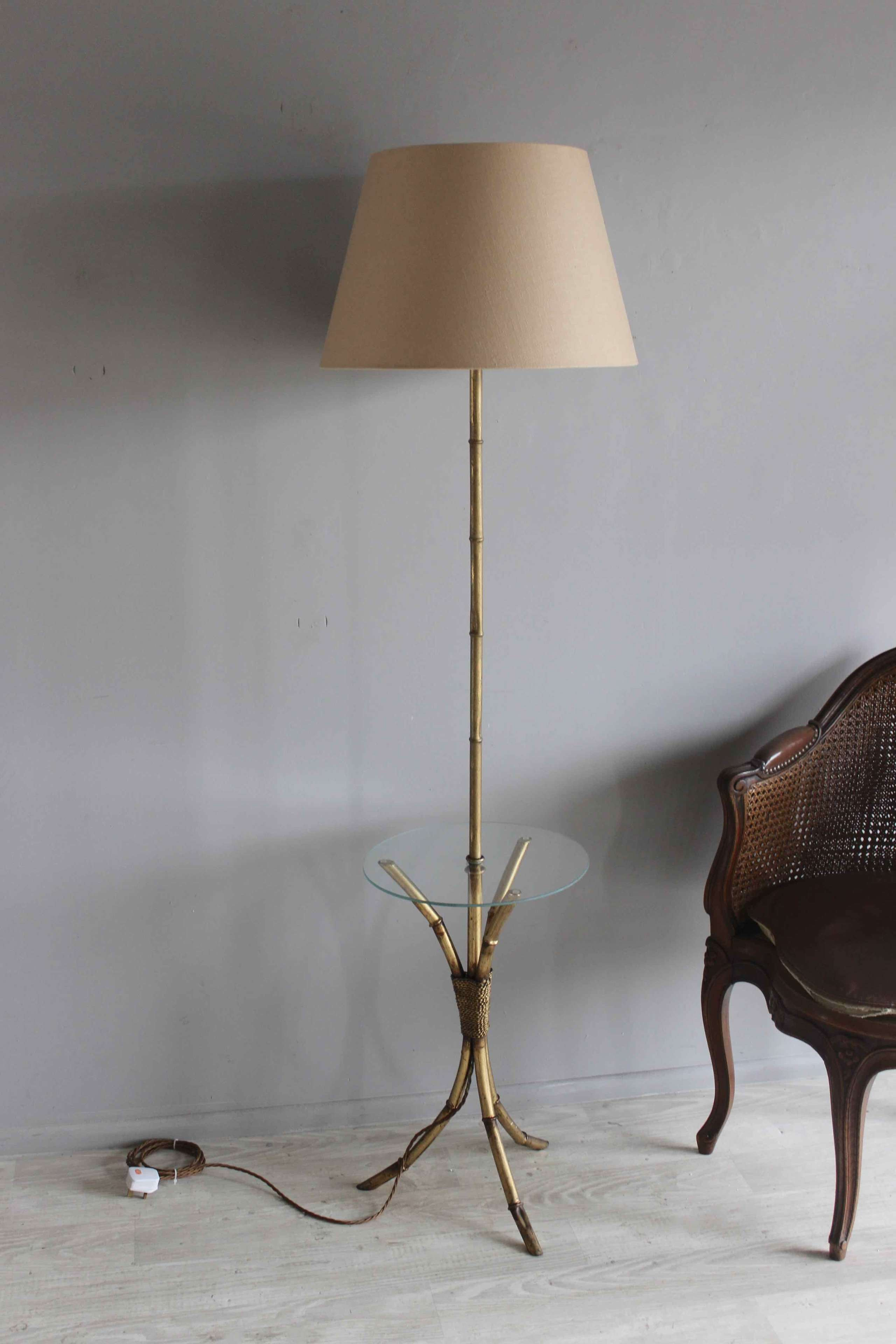 Bamboo style gilt metal floor lamp with cocktail table