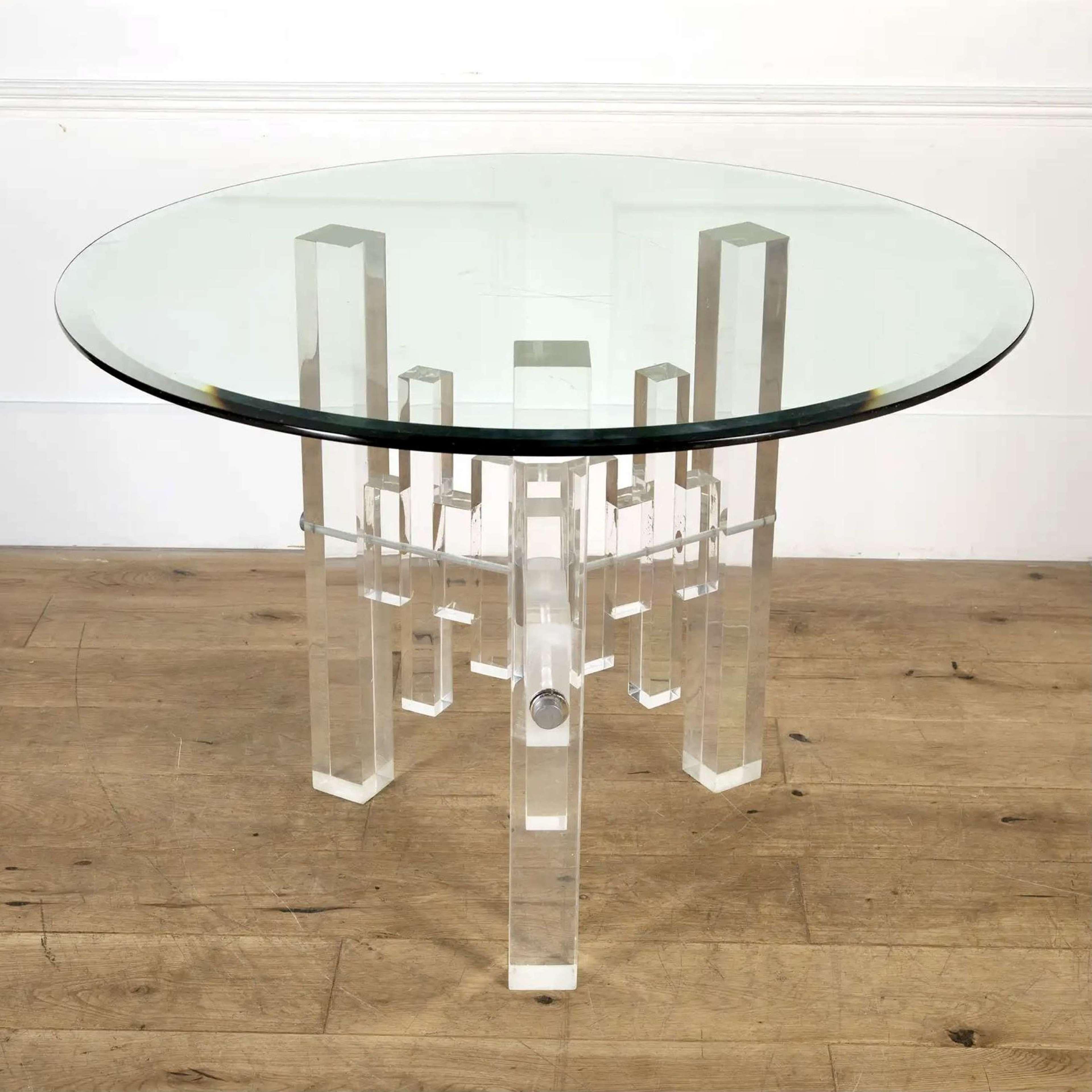 1970s lucite & glass Skyscraper round centre table