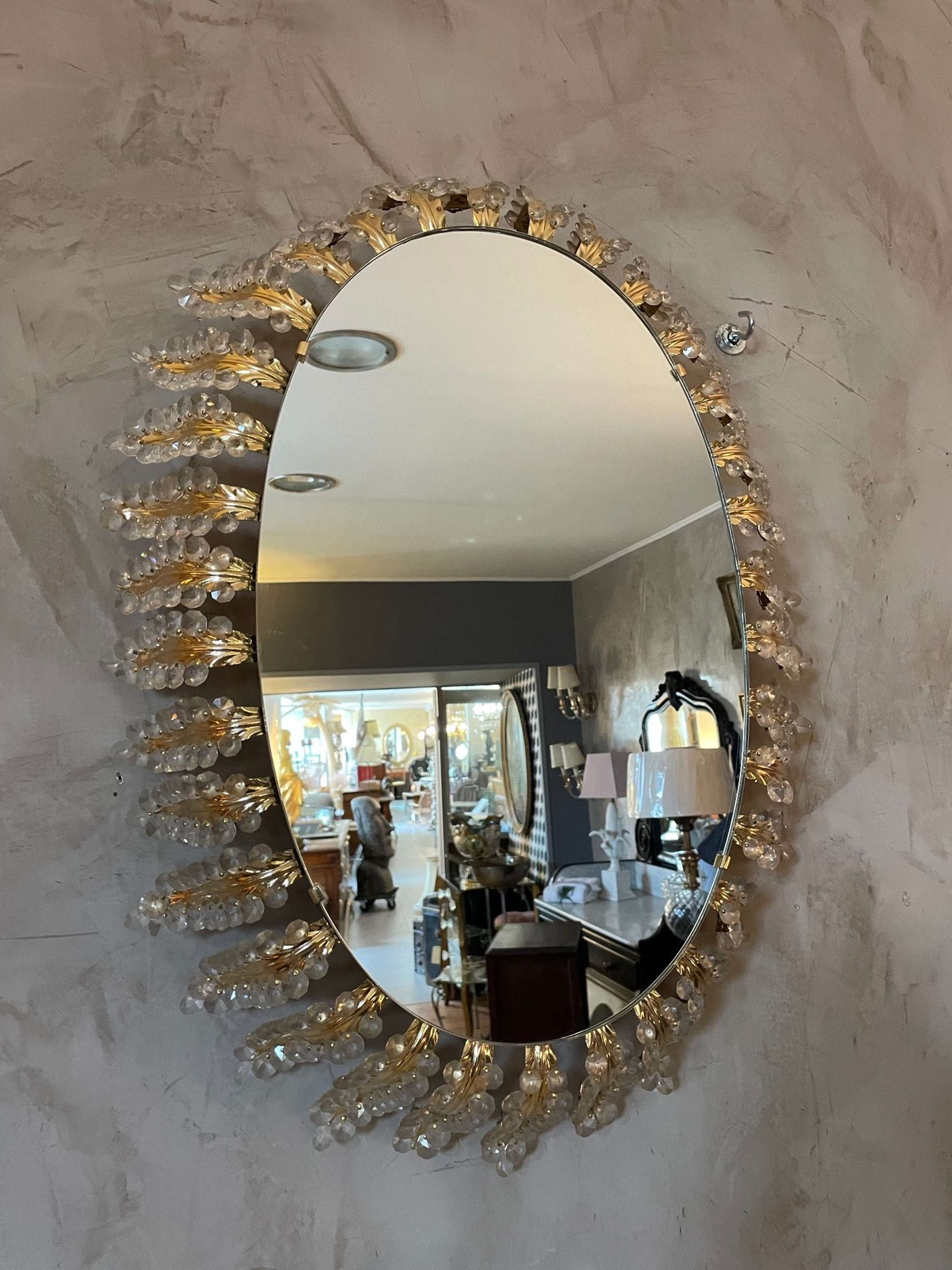 20th Century, Italian Oval Brass and Flowers Mirror, 1950s