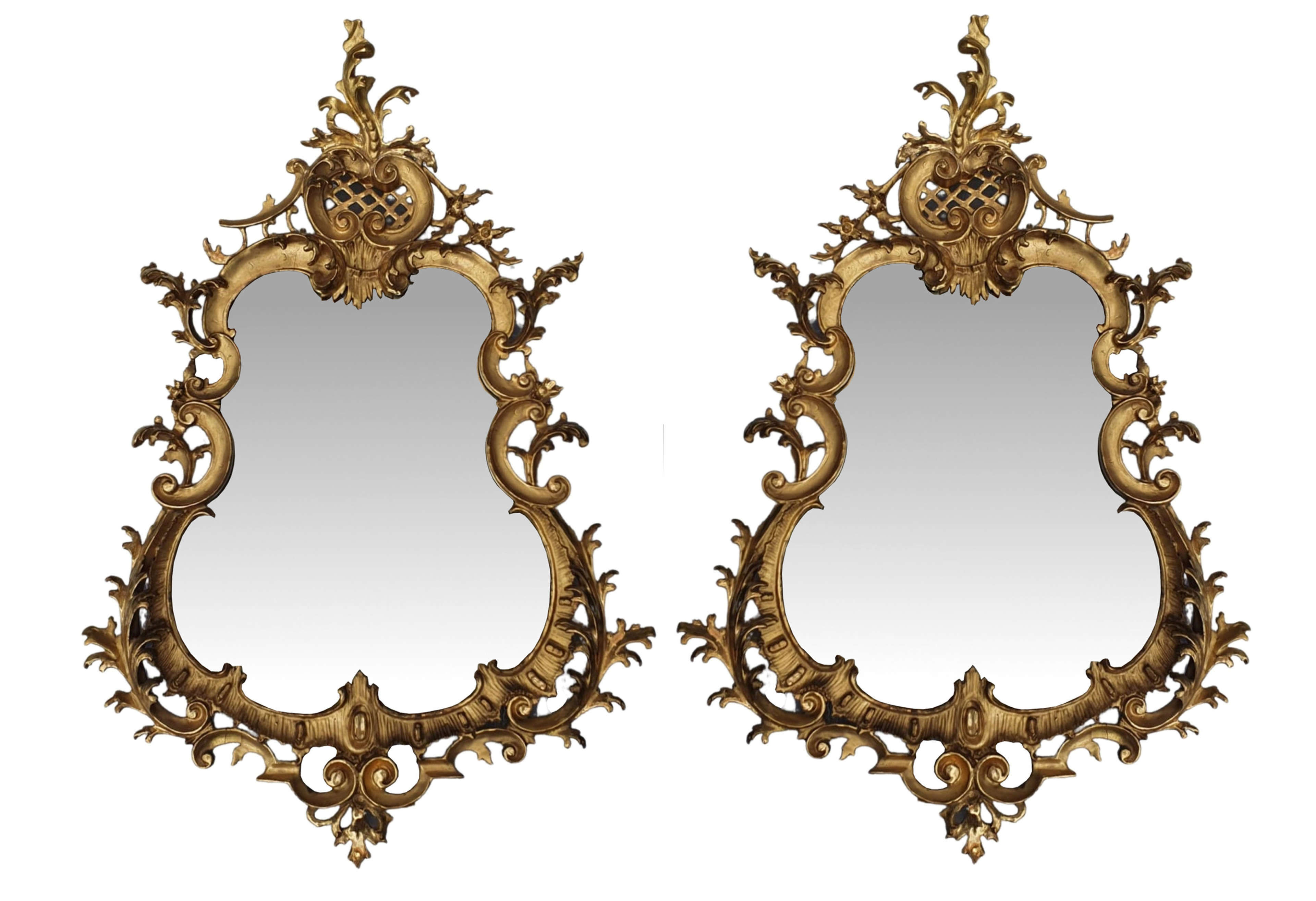 Rare Pair of 19th Century Pier Giltwood Mirrors in the Rococo Manner