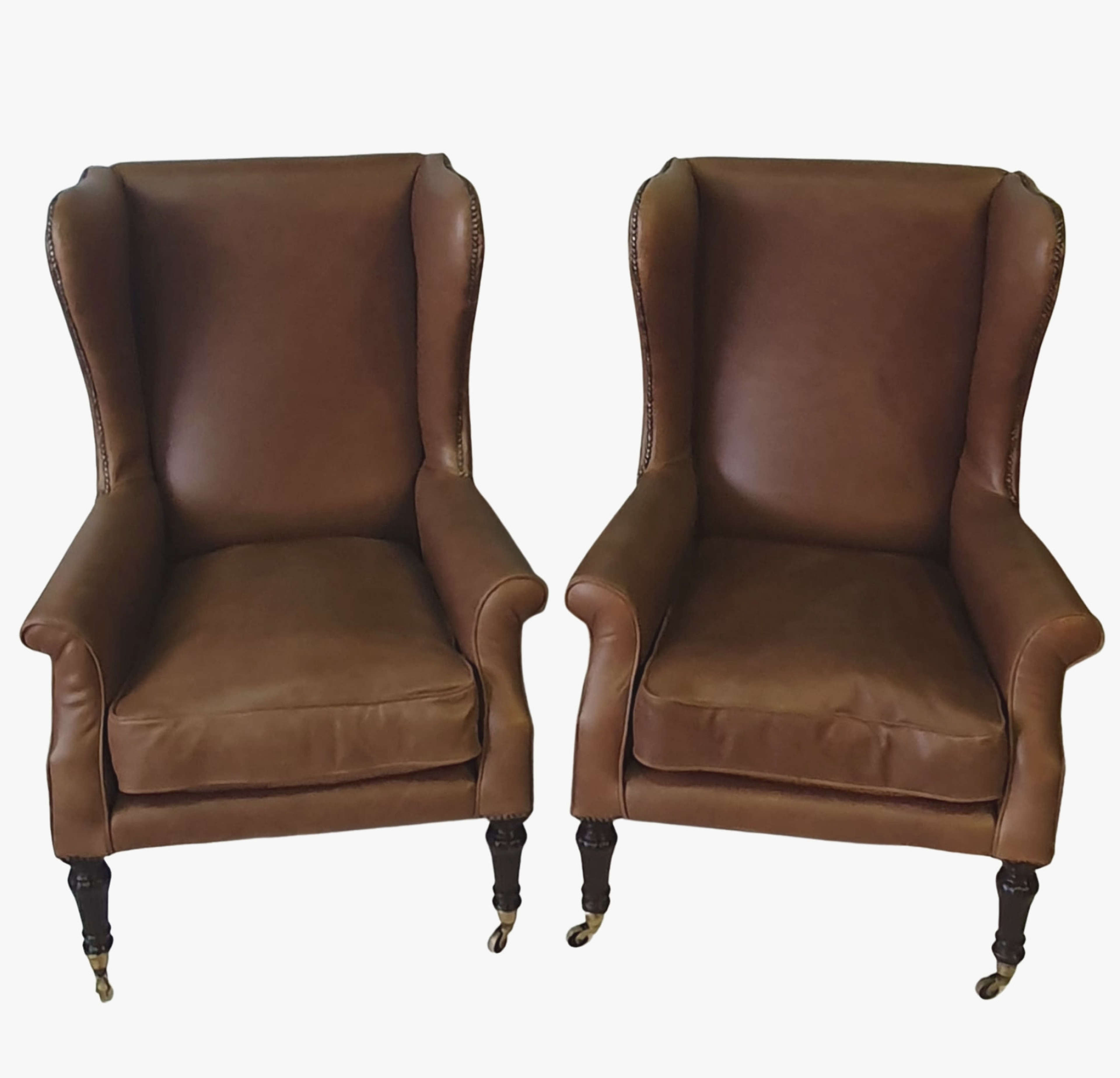 19th Century Pair of Wingback Leather Armchairs