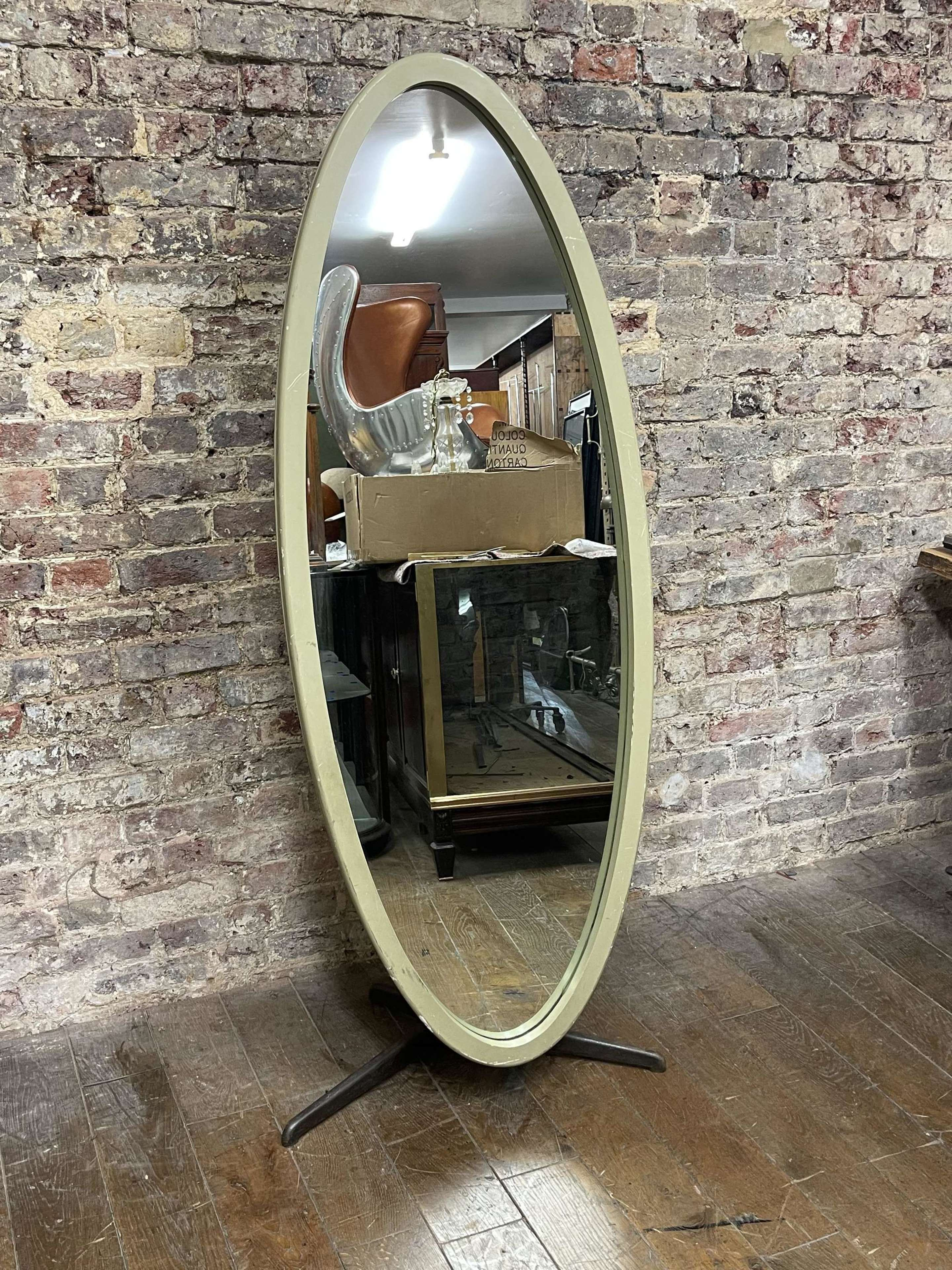 Olive coloured 1960's Oval Mirror