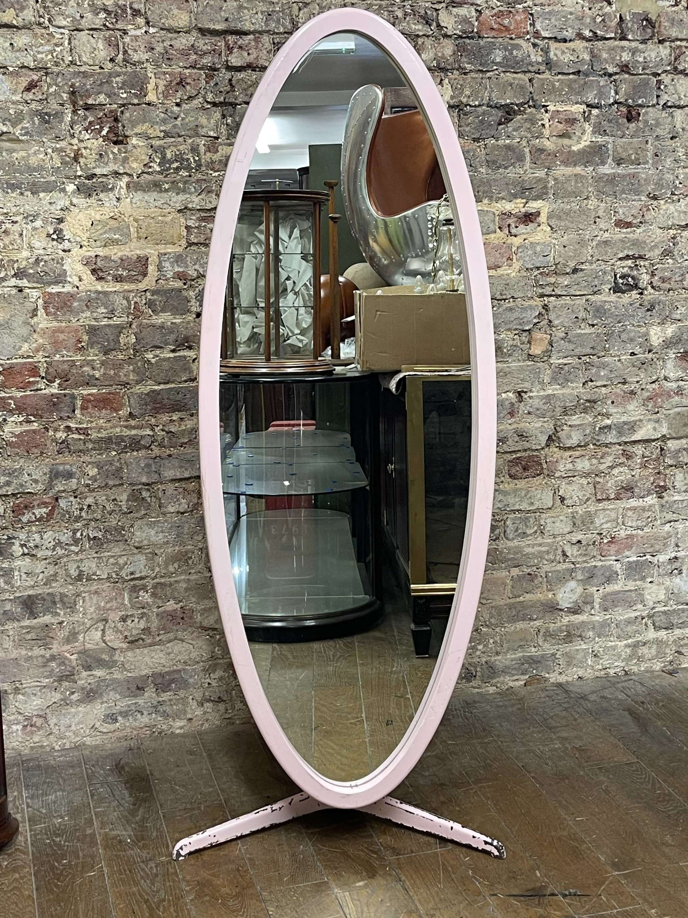Pink 1960's Oval Mirror