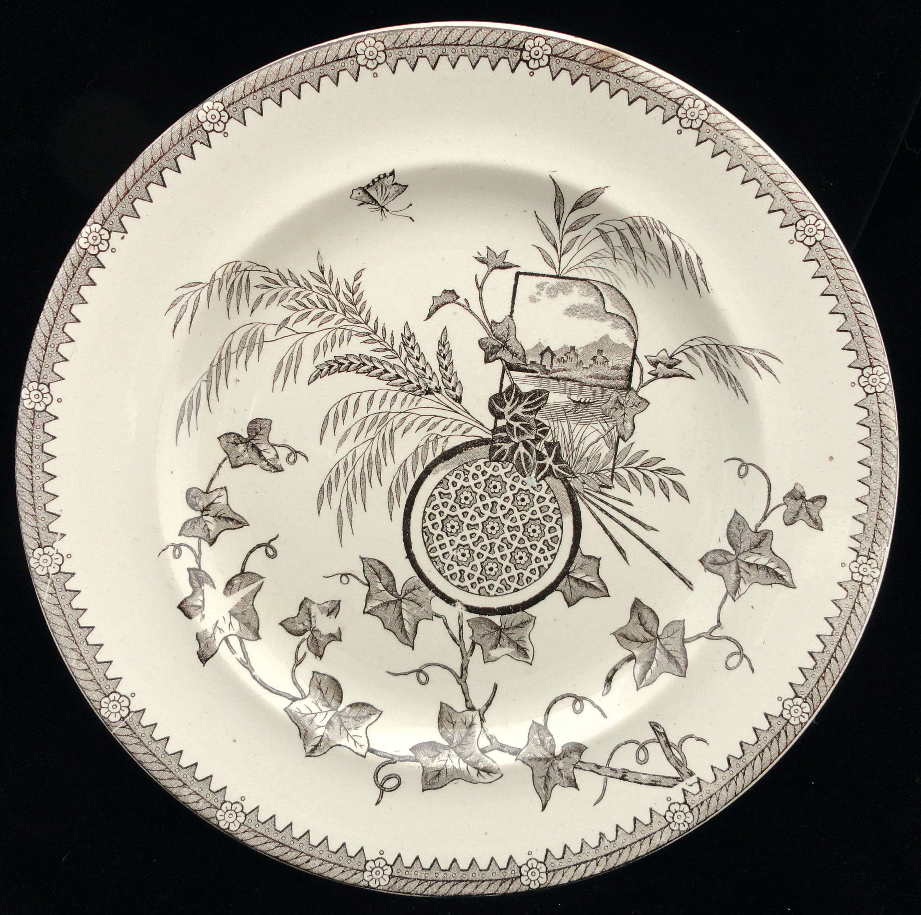 Superb Antique English Brown Transferware Plate ~ YESSO 1884
