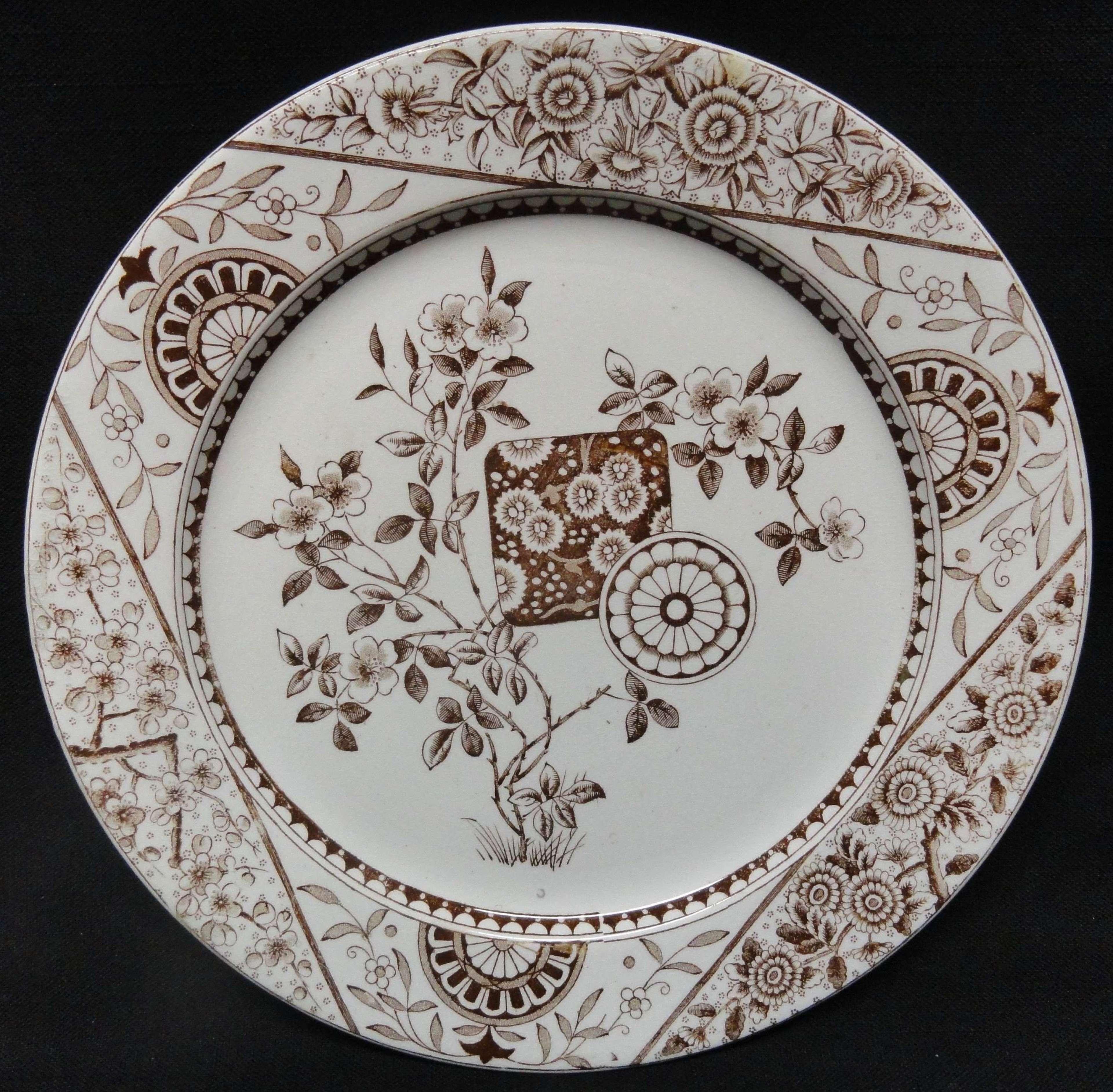 Dark Brown Transferware Victorian Plate ~ Gordon 1890