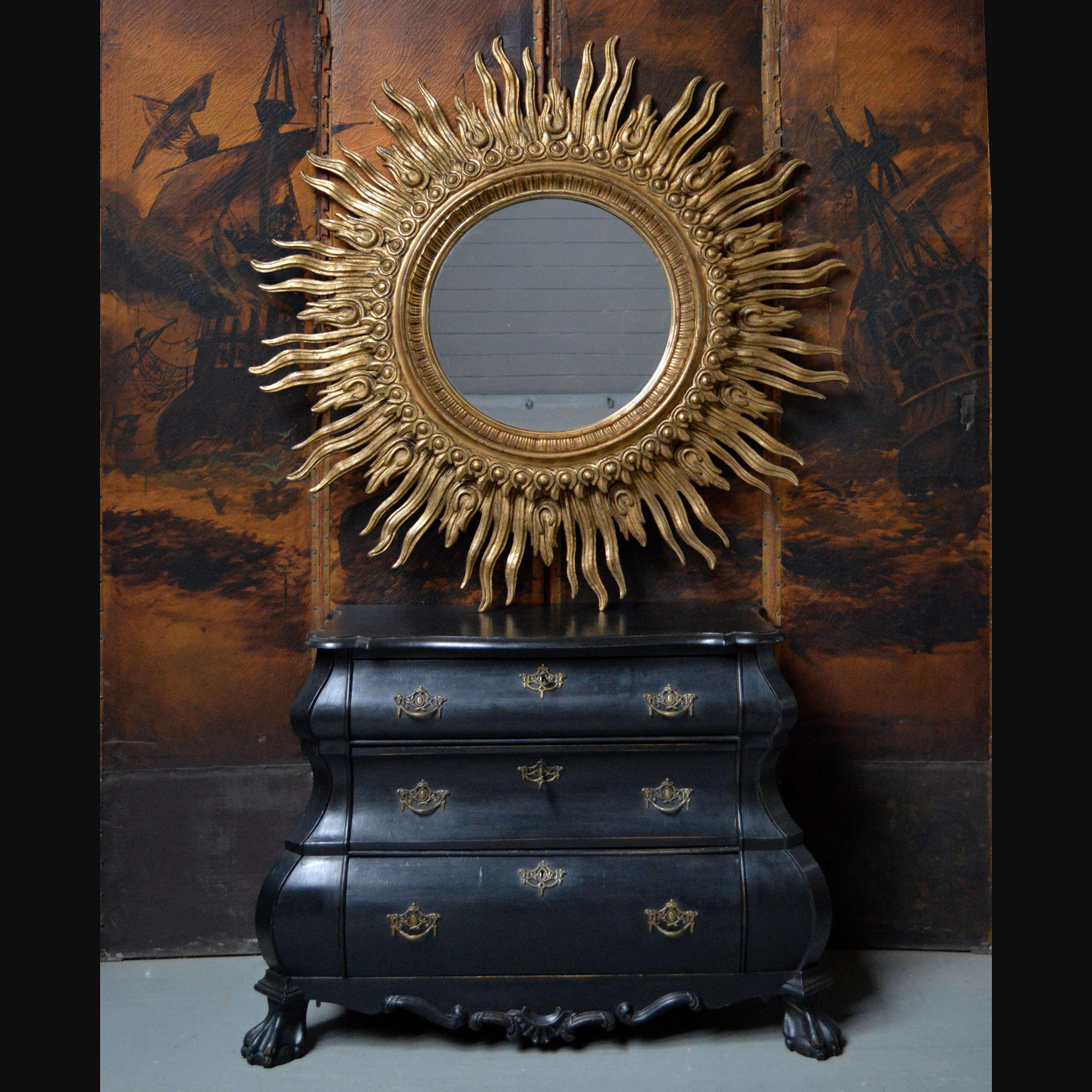 Giant Mid Century Giltwood Spanish Sun Mirror
