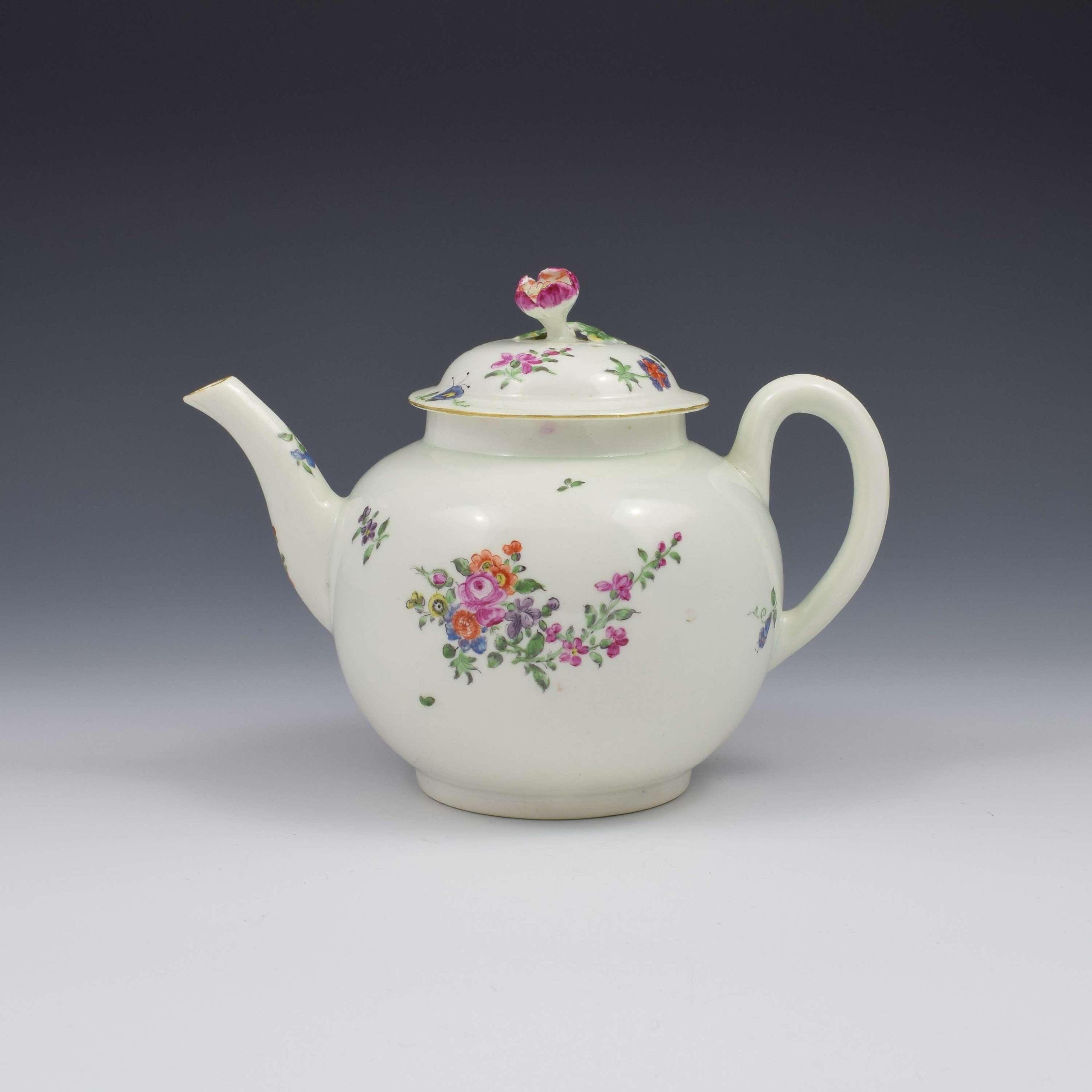 First Period Worcester Porcelain Floral Painted Globular Teapot c.1765