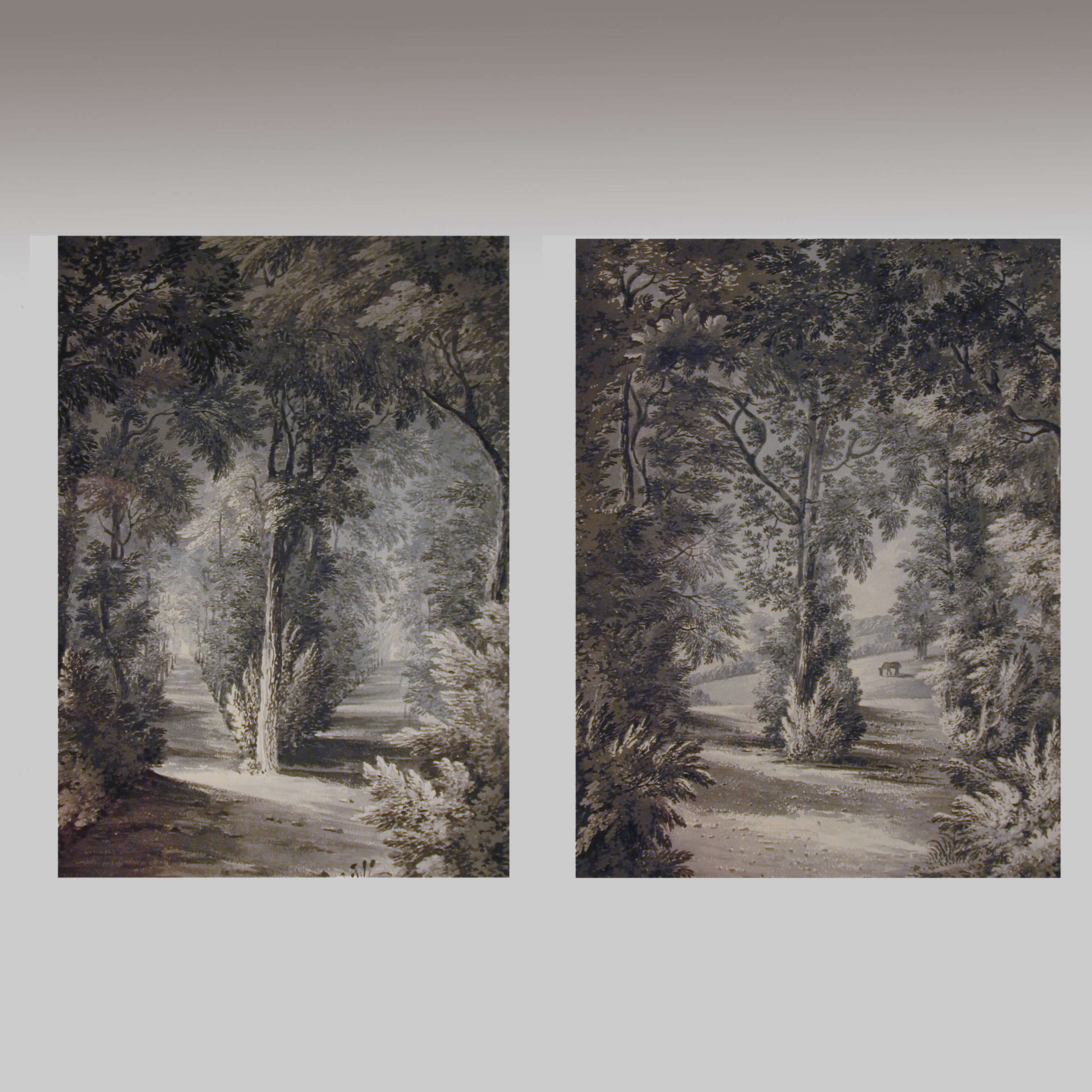 Pair of watercolours of Wanstead Grove, Essex, by Hon. Harriet Rushout