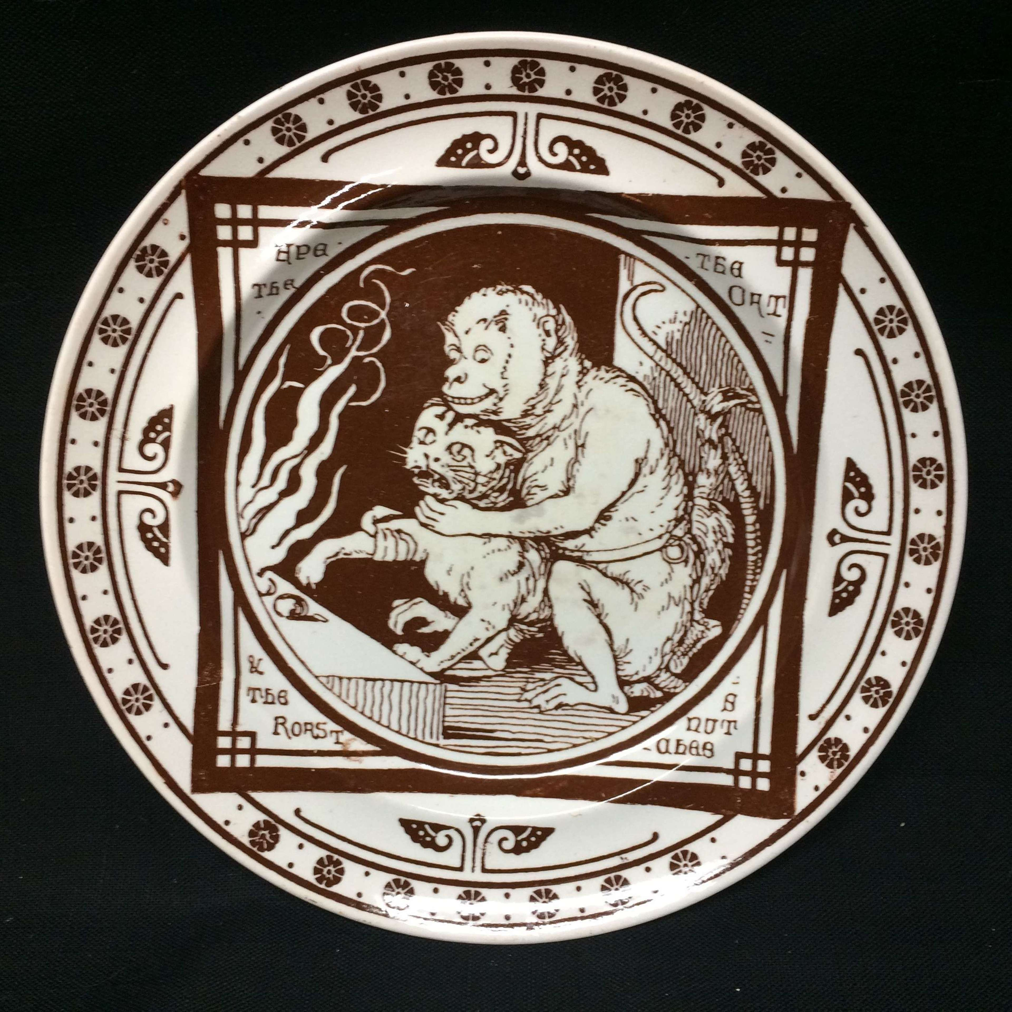 1872 ~ Aesops Fables Plate ~ Monkey and Cat