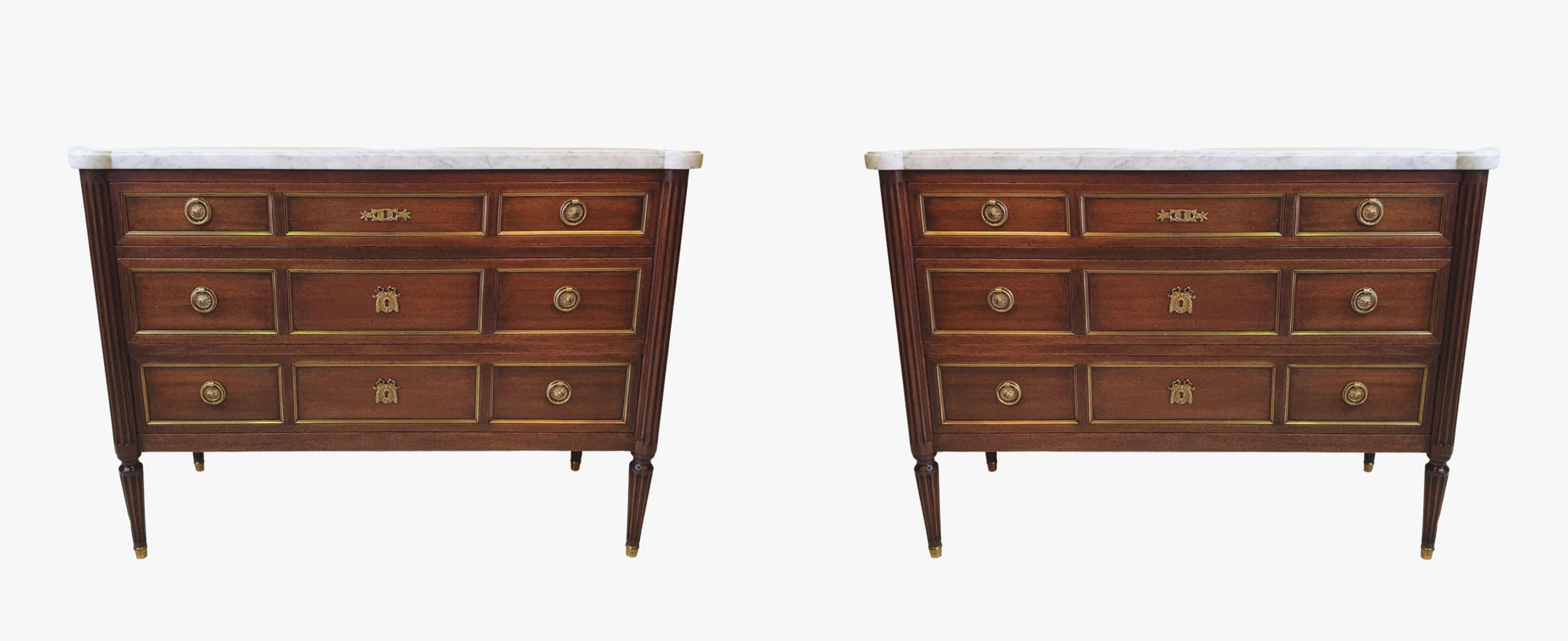 Lovely Quality Pair of Mid Twentieth Century Marble Top Mahogany Chest