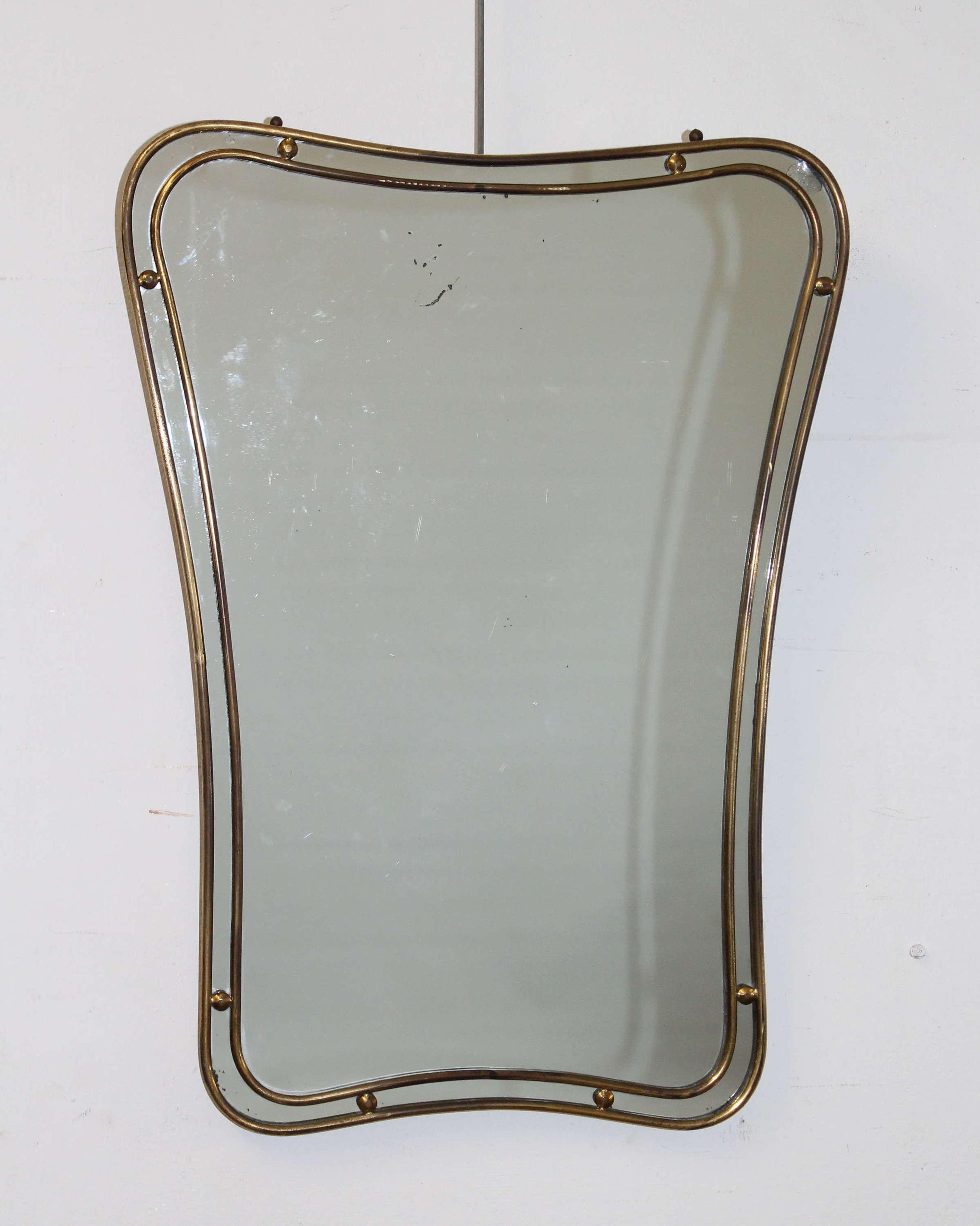 Mid century modern Italian mirror with double brass frame