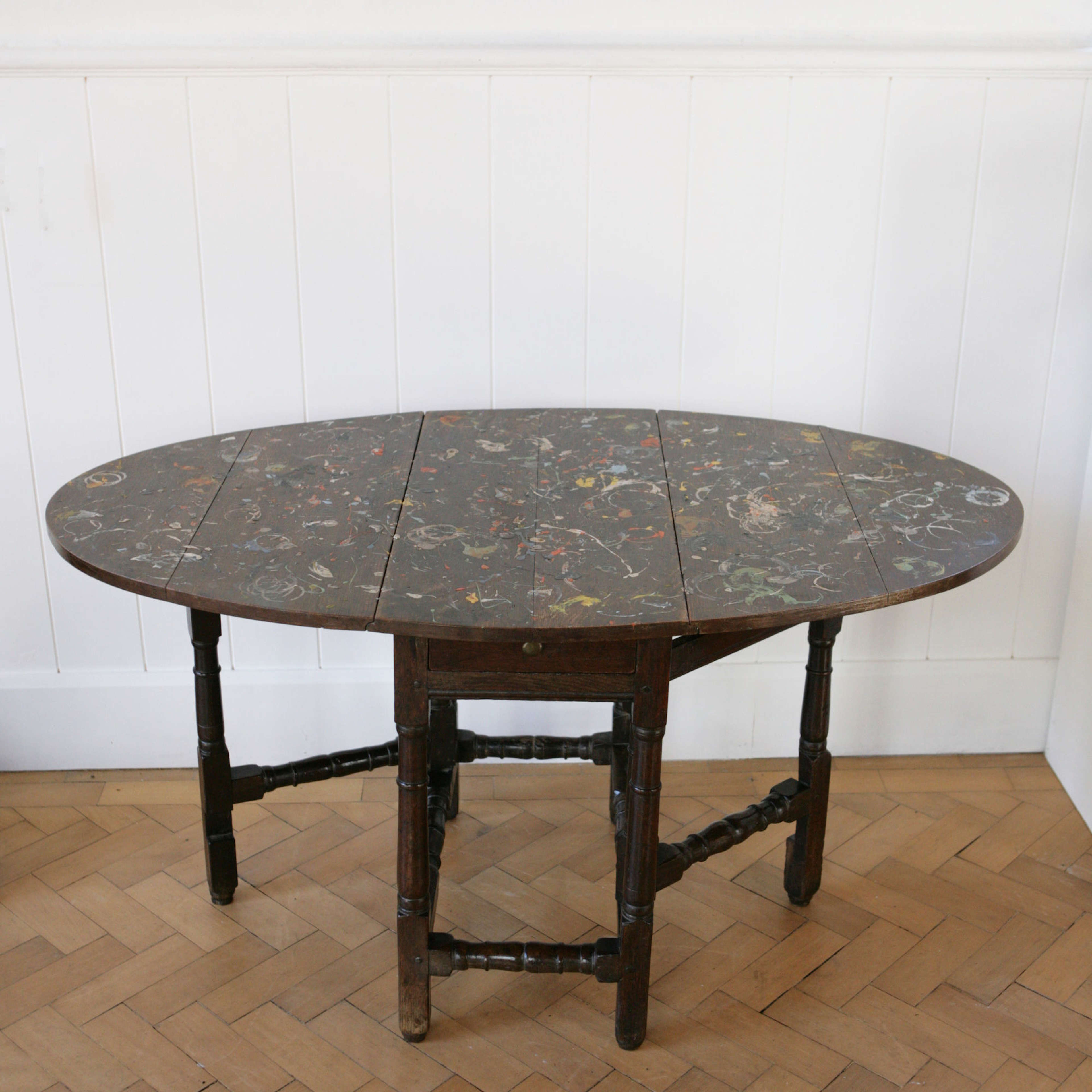 Unique C18th gateleg table with paint splatters and super patina.