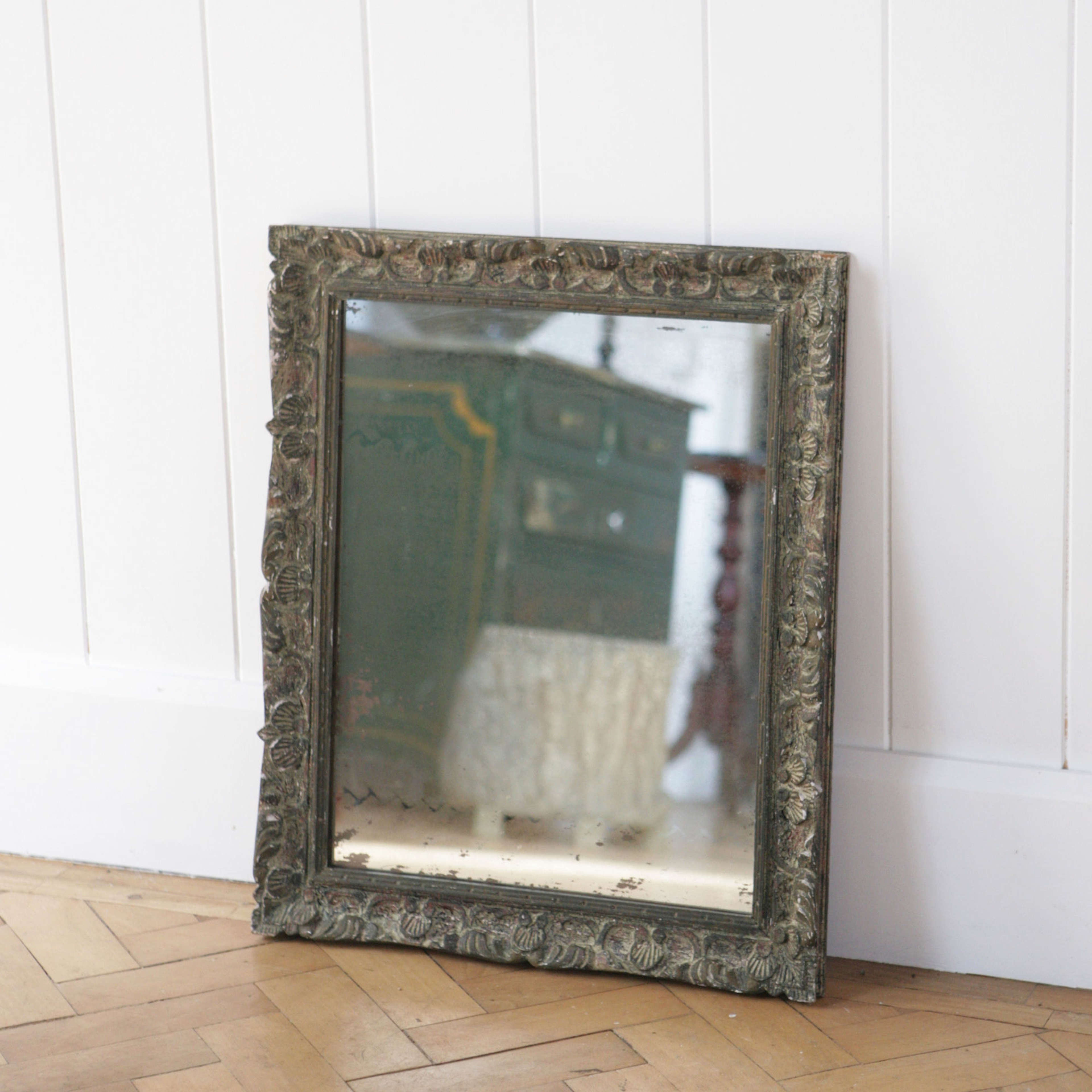 Early C20th Montparnasse mirror with original paint and plate.