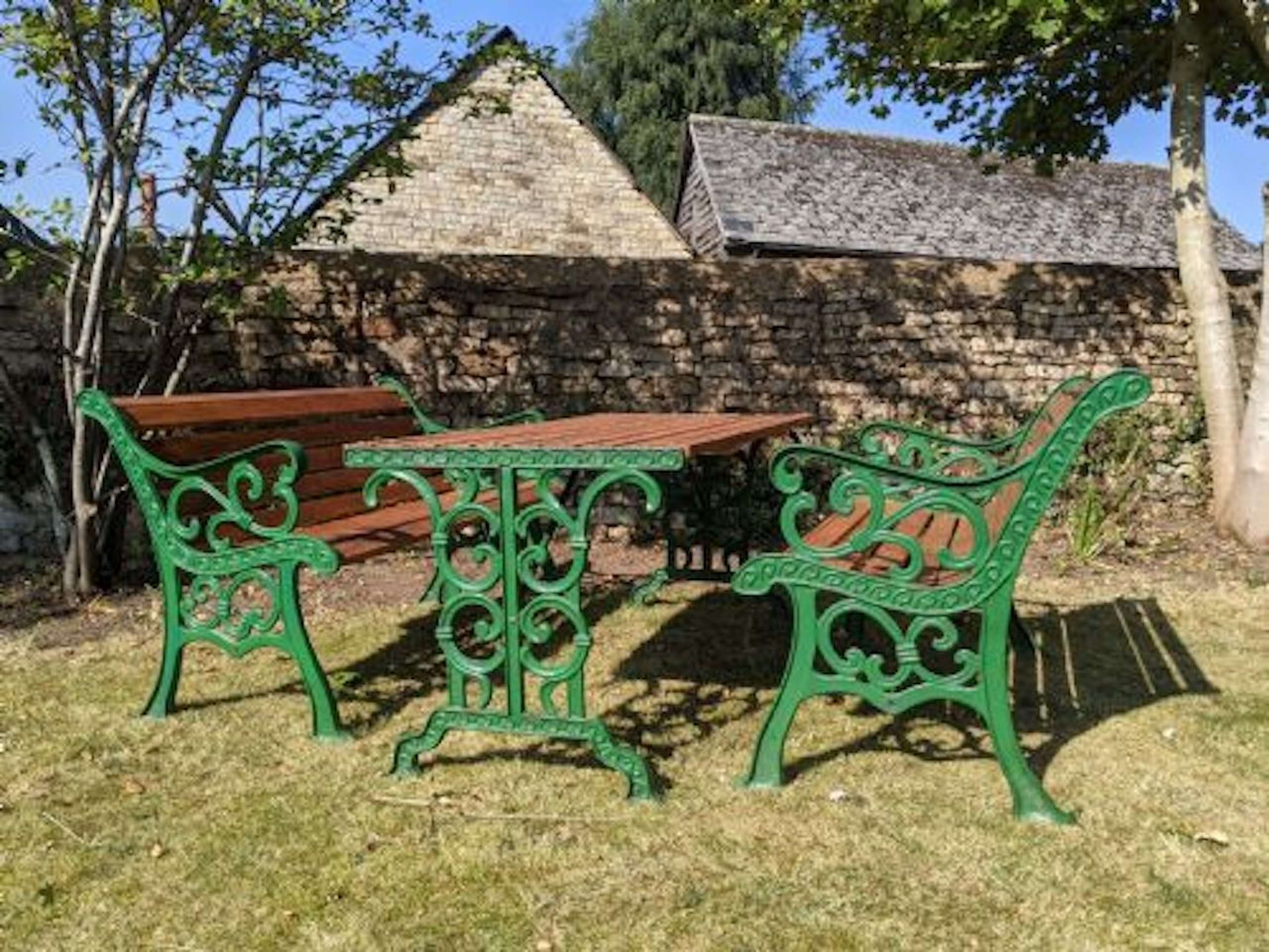 Late Victorian Cast Iron Garden Table & Benches