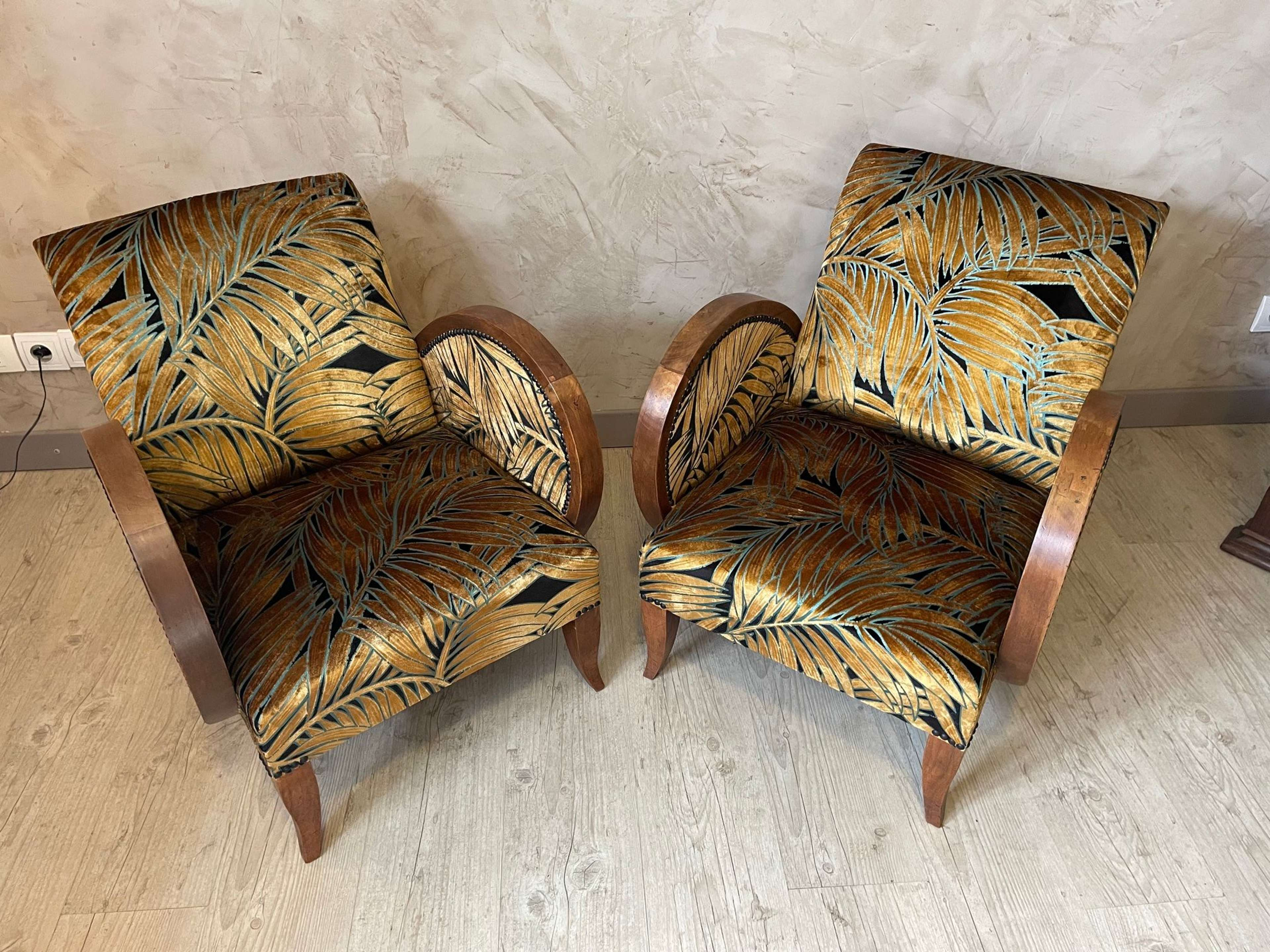 Reupholstered Pair of French art deco Armchair, 1930s