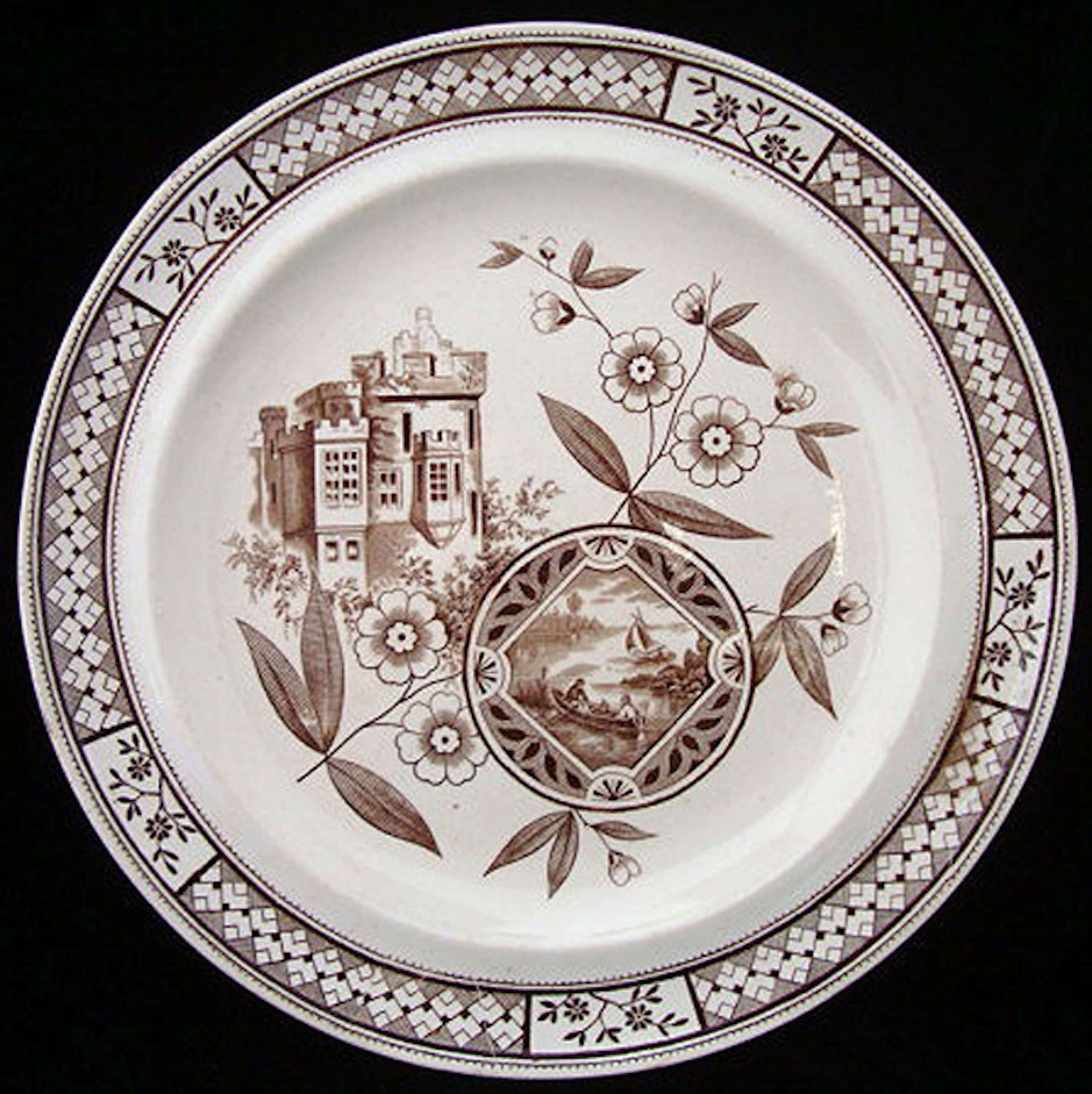 Antique Brown Transfer Plate ~ Castle & Sailboats 1872