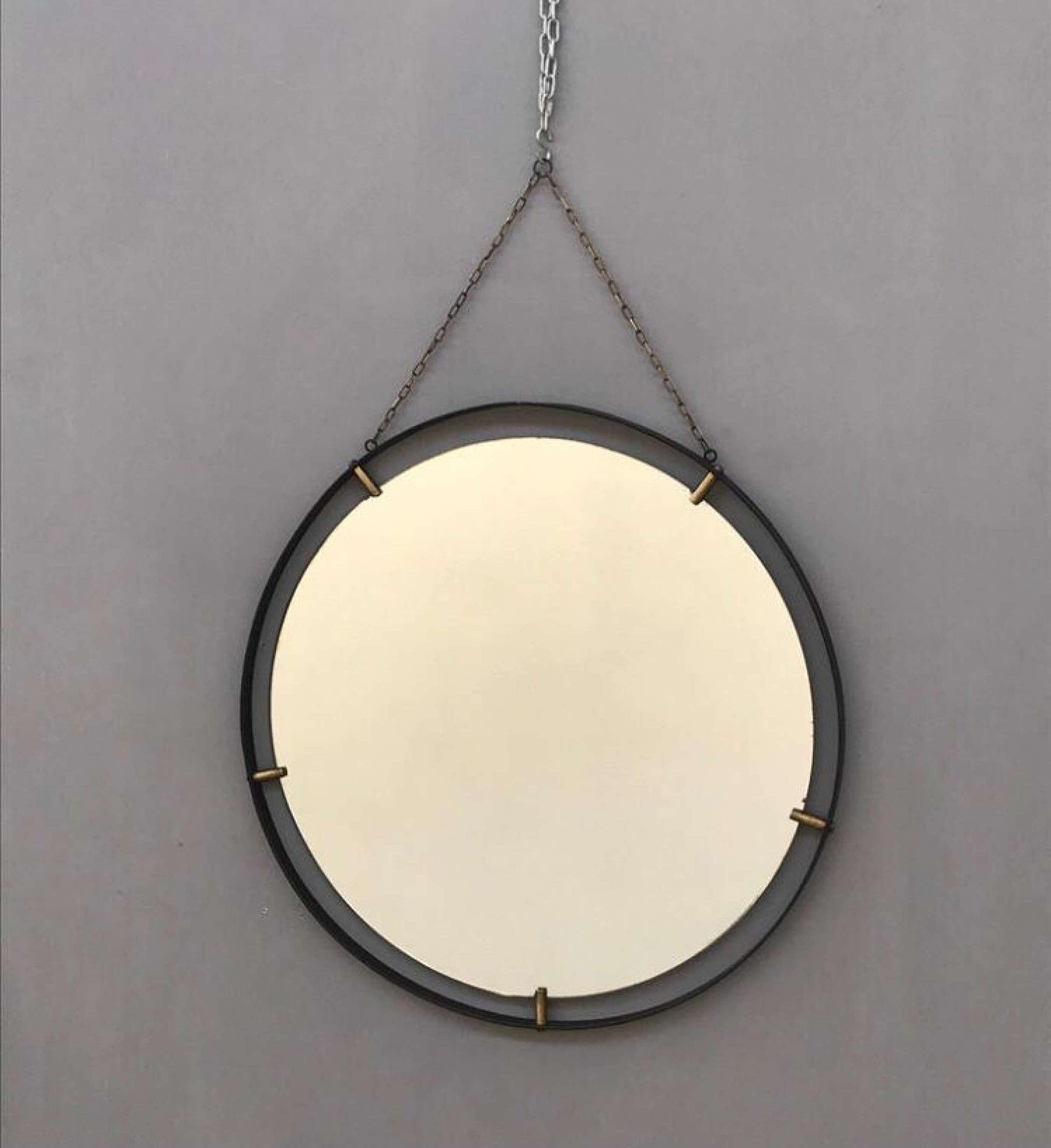 Pair of Italian 60s Metal & Brass Round Mirrors