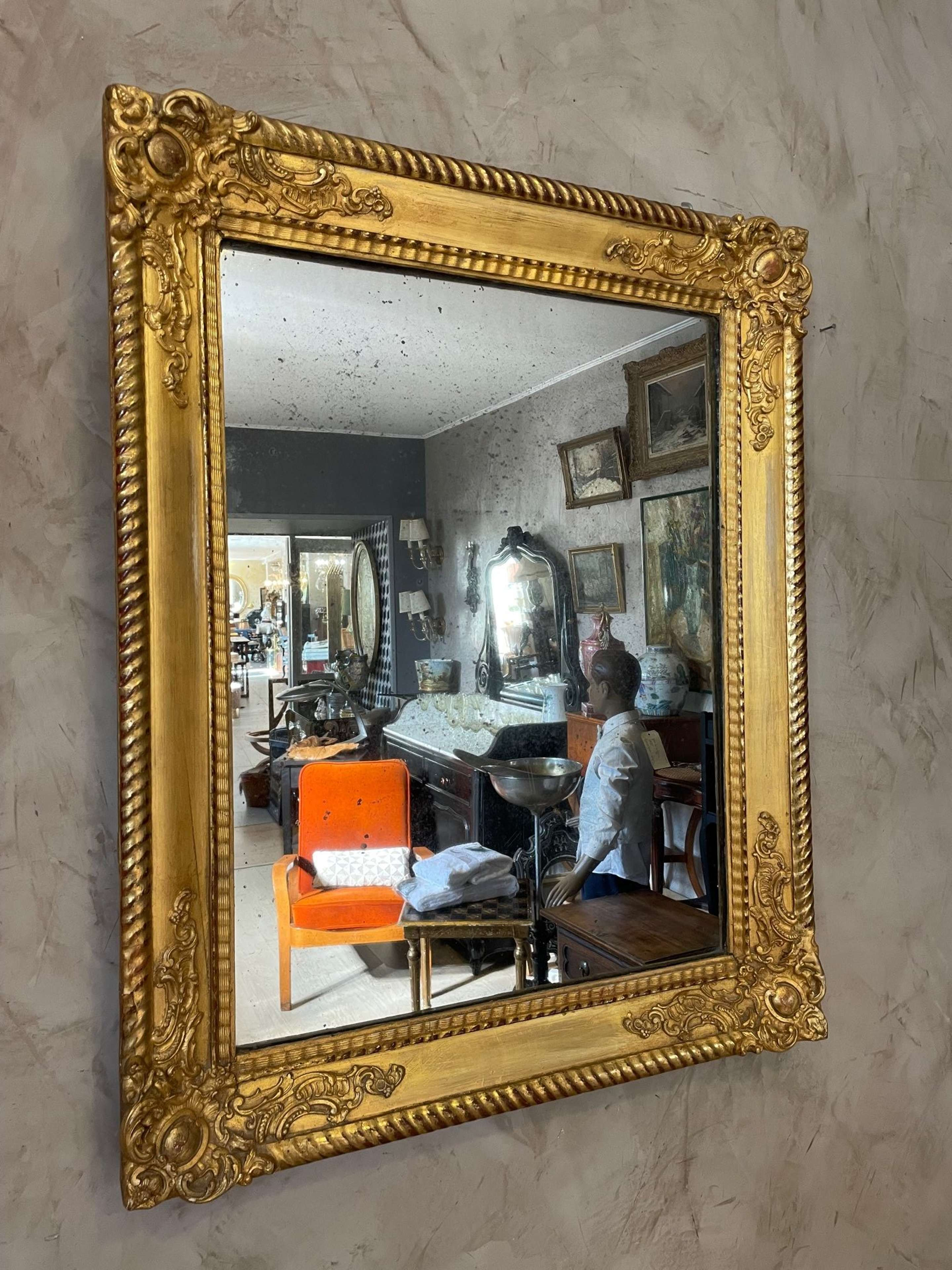 19th century French Louis XV Style Golden Stuc and Wood Mirror