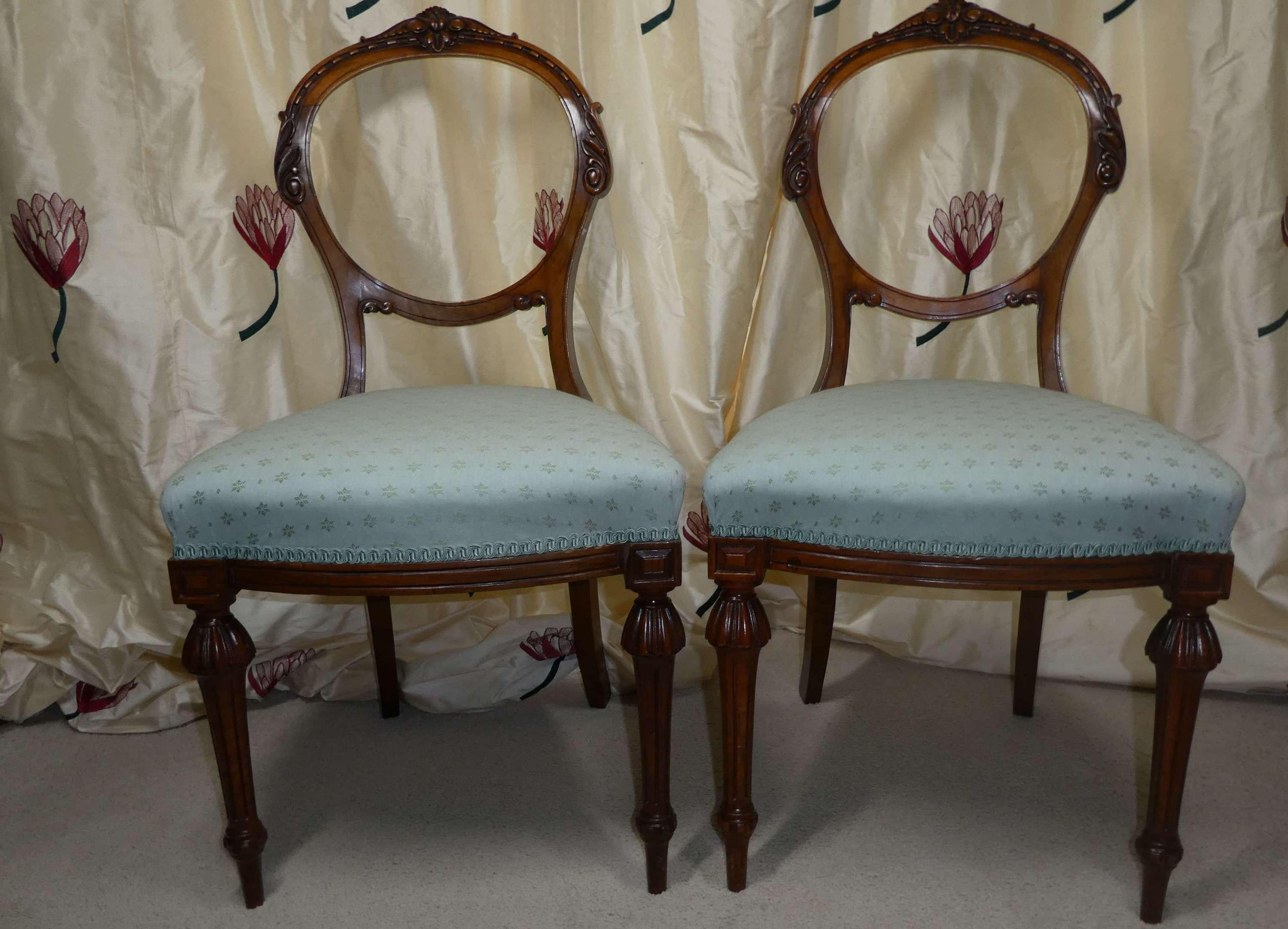 Pair of walnut mid 19th Century chairs