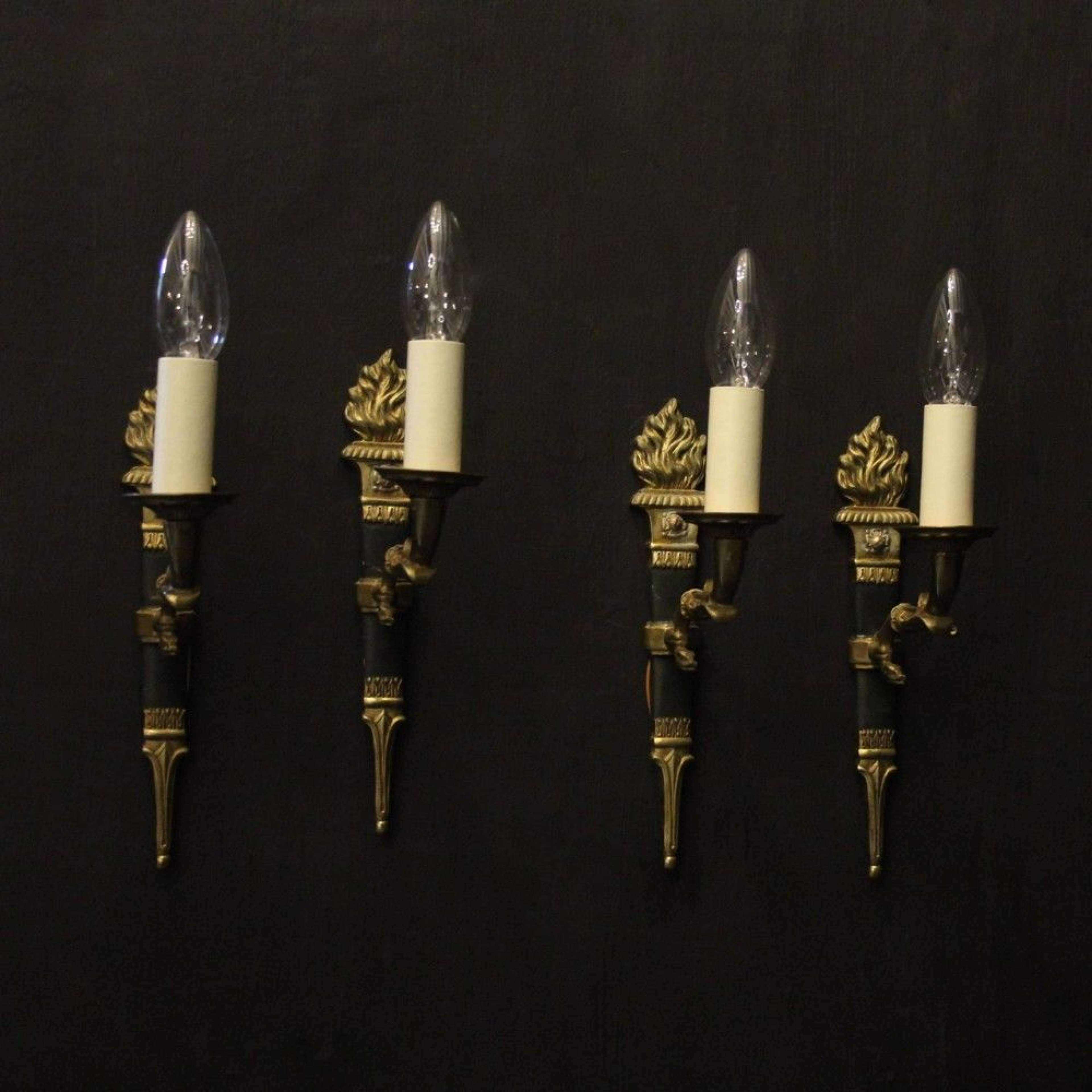 French Set Of 4 Empire Single Arm Antique Wall Lights