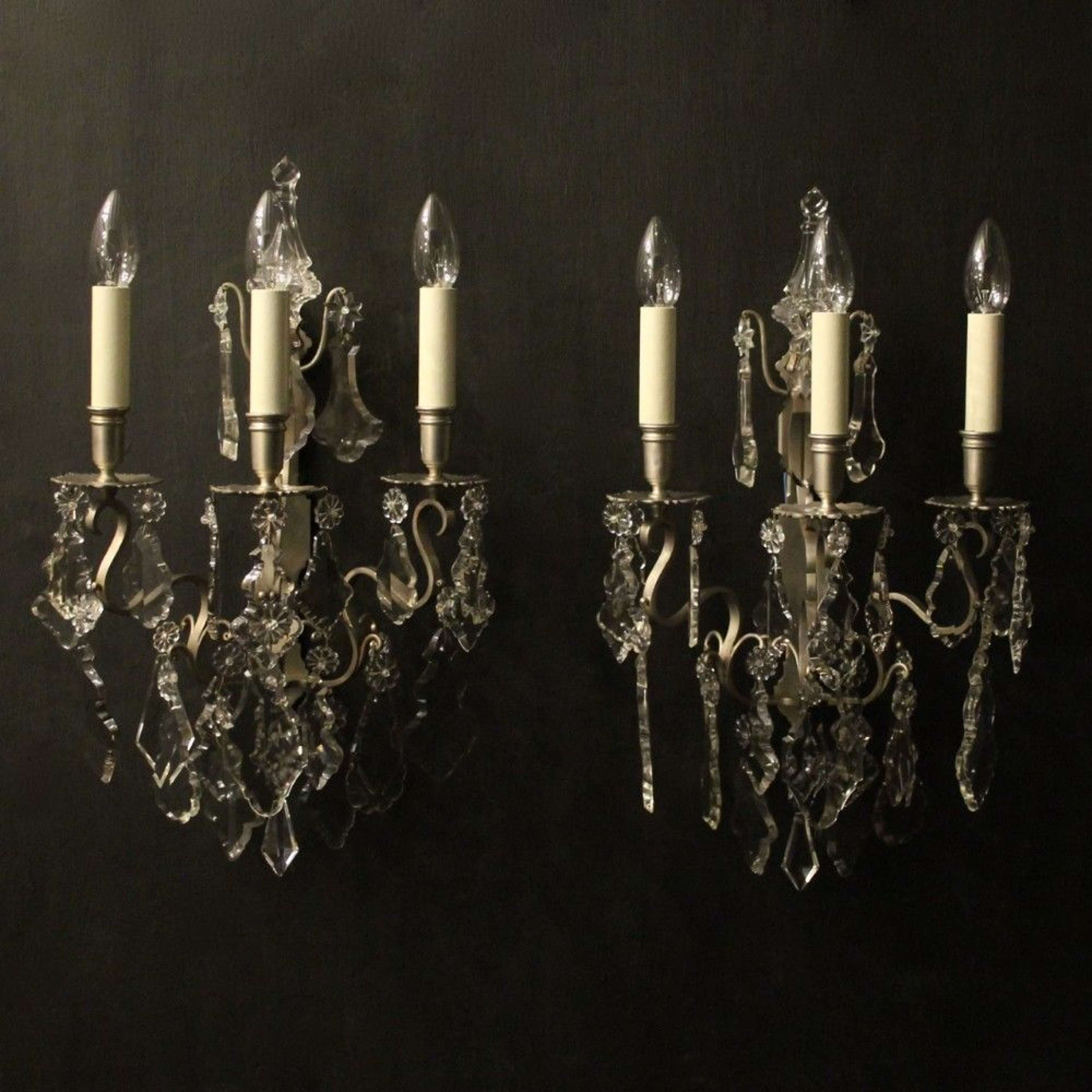 French Pair Of Silver Gilded Bronze Wall Sconces
