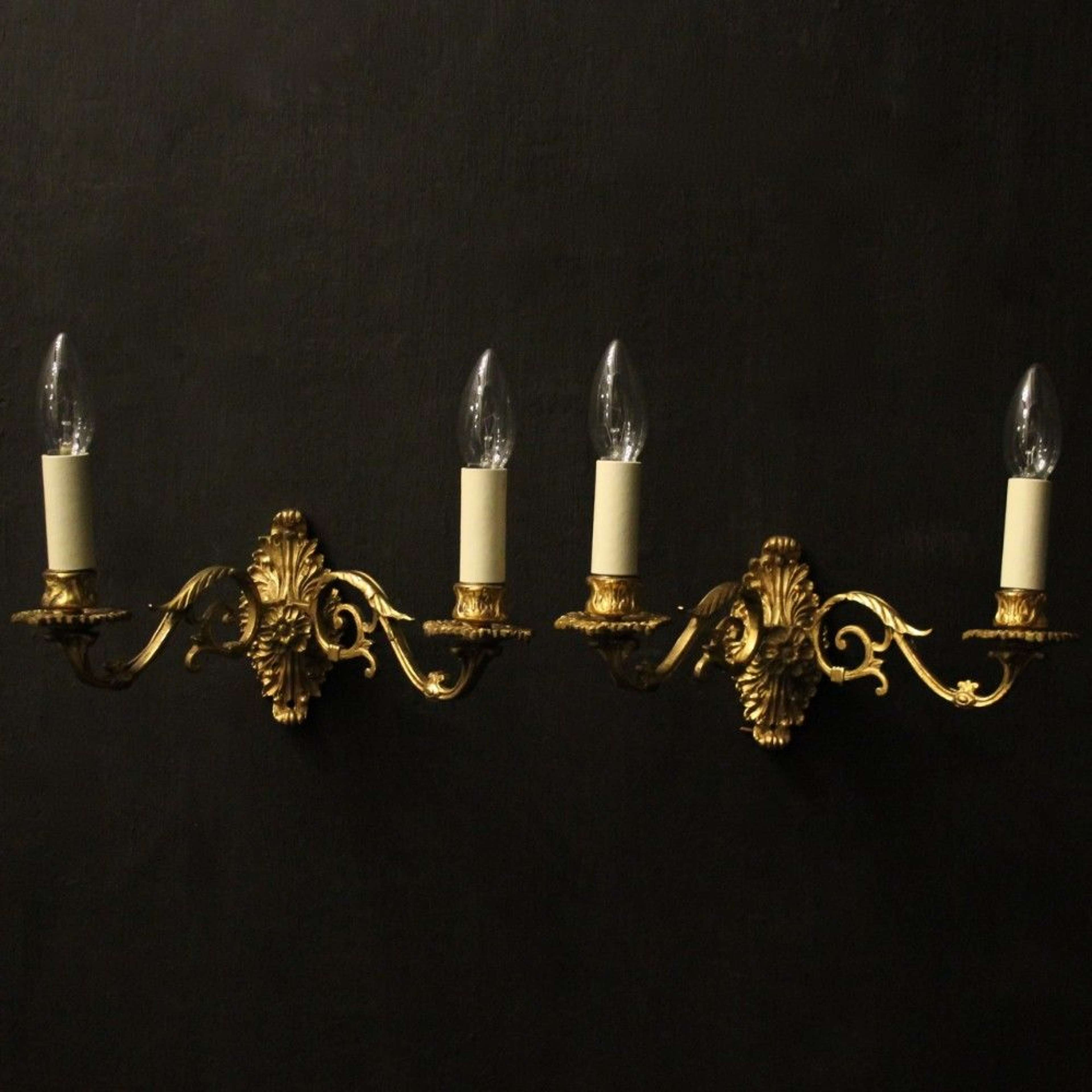 French Pair Of Gilded Brass Antique Wall Sconces