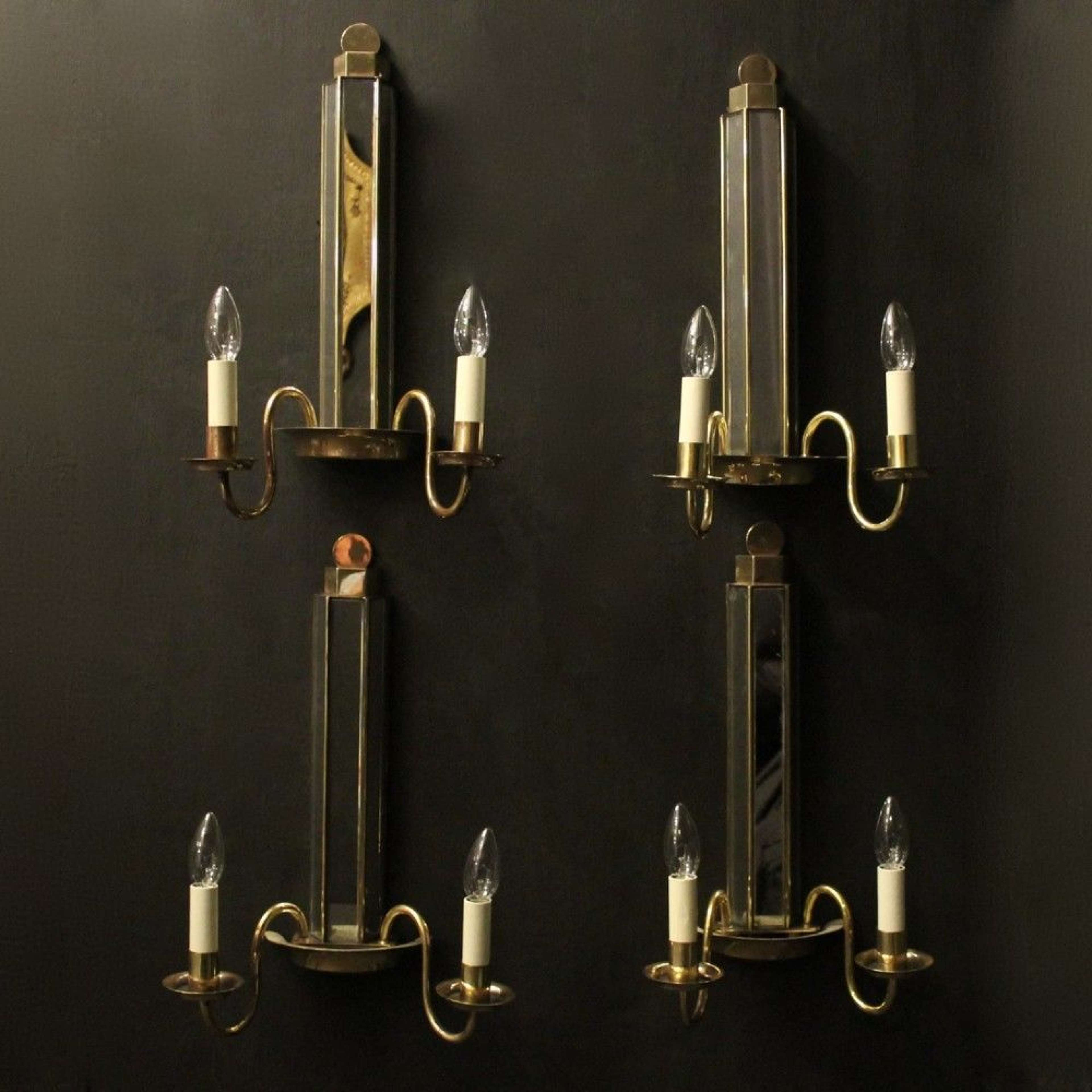English Set Of 4 Art Deco Brass Twin Arm Antique Wall Lights