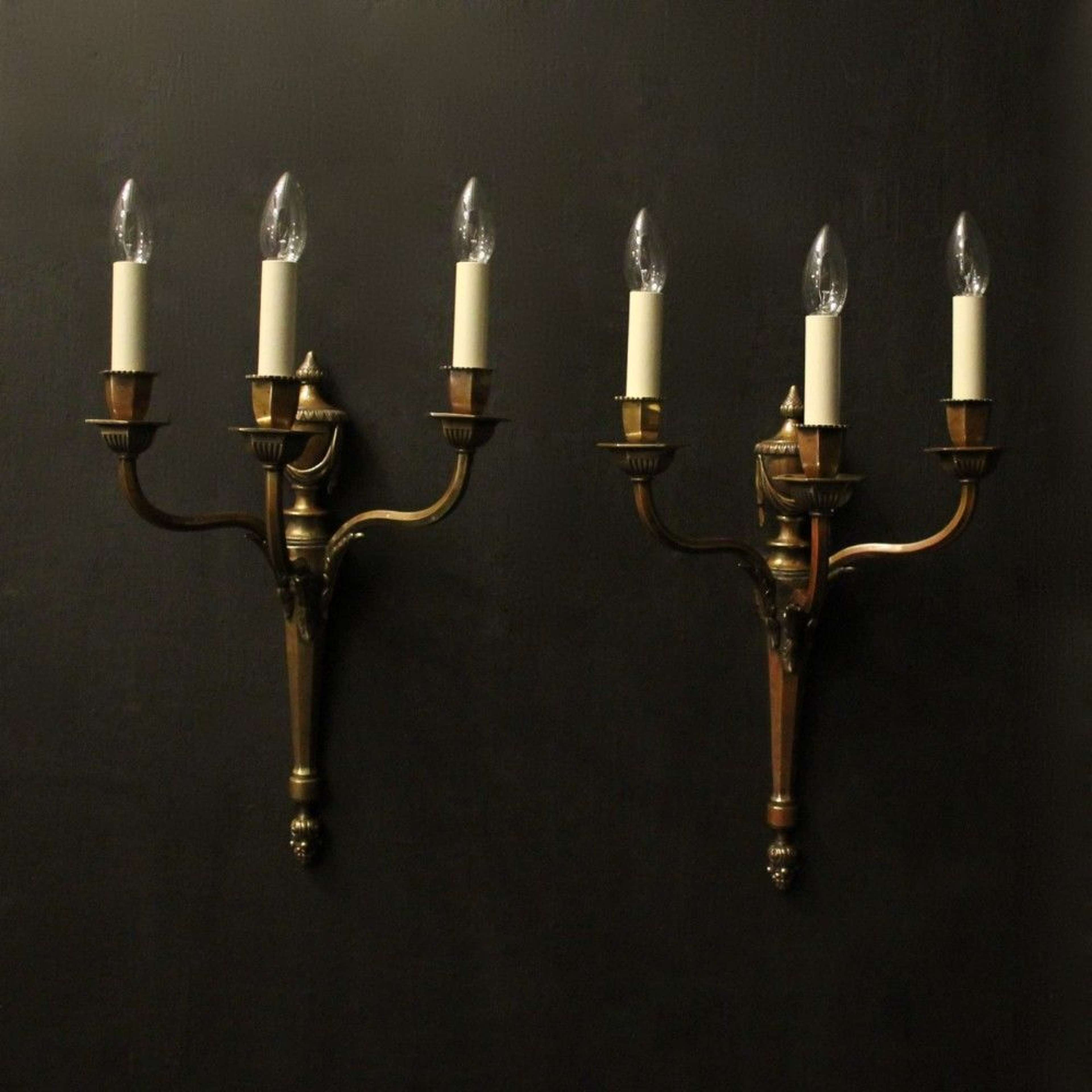 English Pair Of Bronze Triple Arm Antique Wall Lights