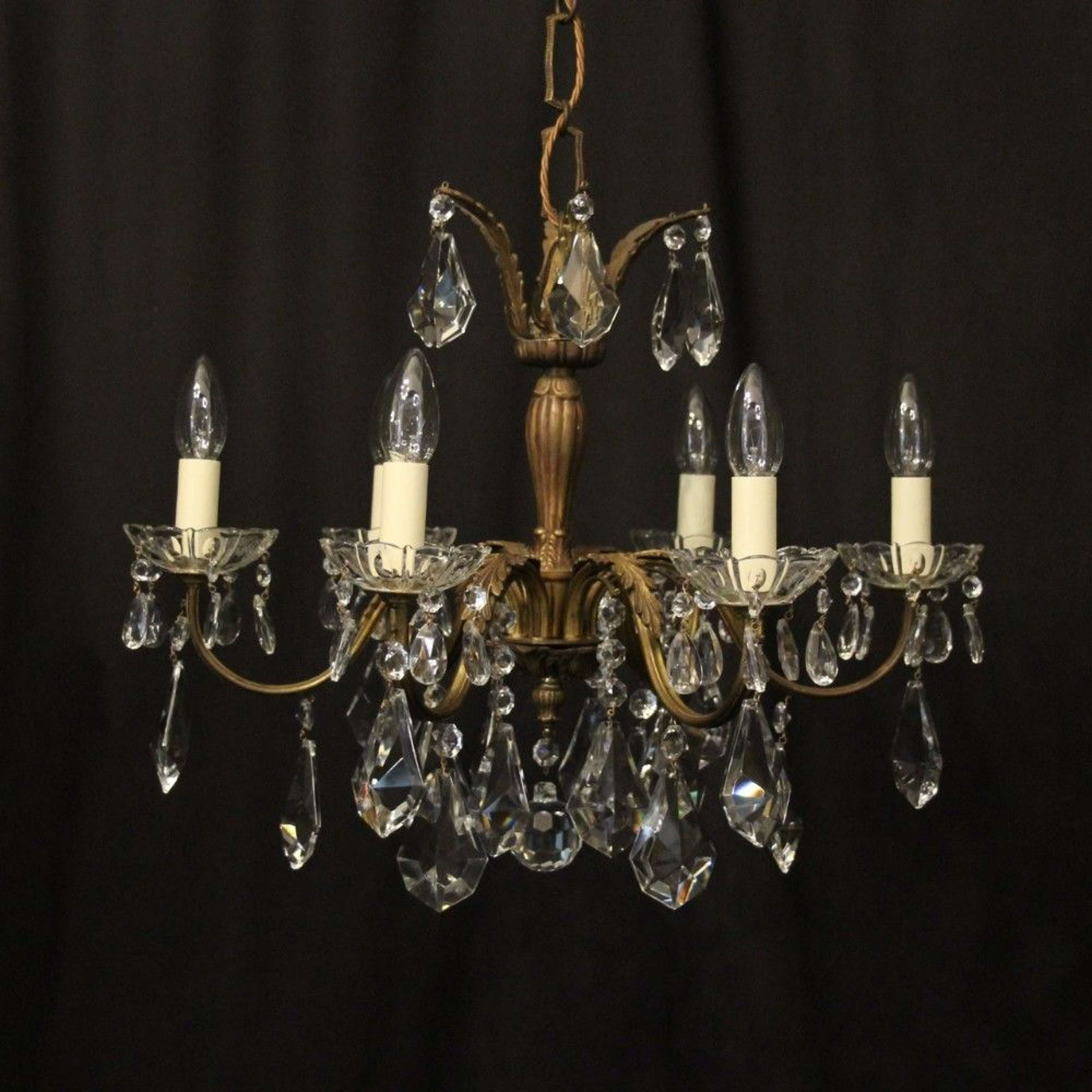 French Gilded 6 Light Antique Chandelier