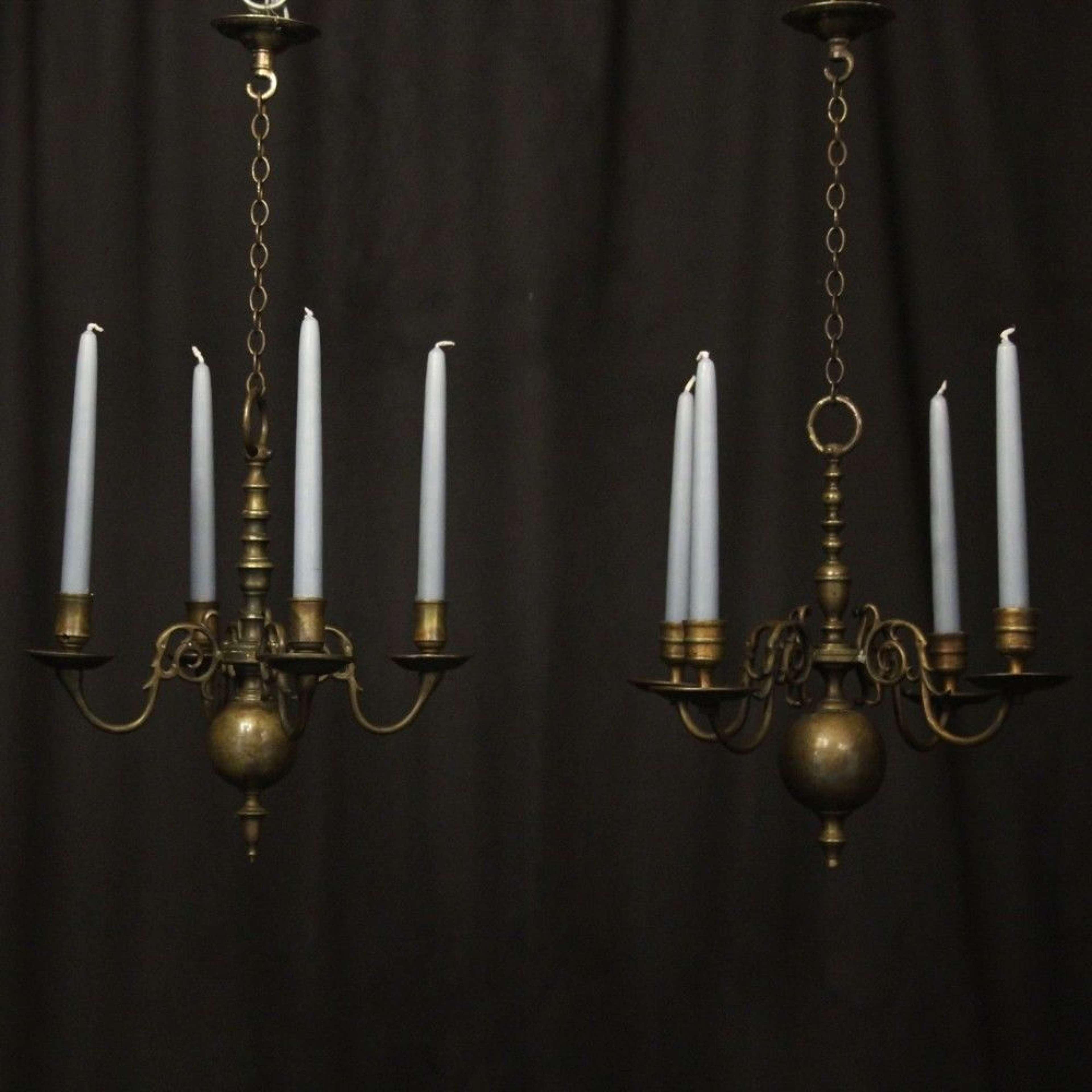 English Pair Of Bronze Antique Chandeliers