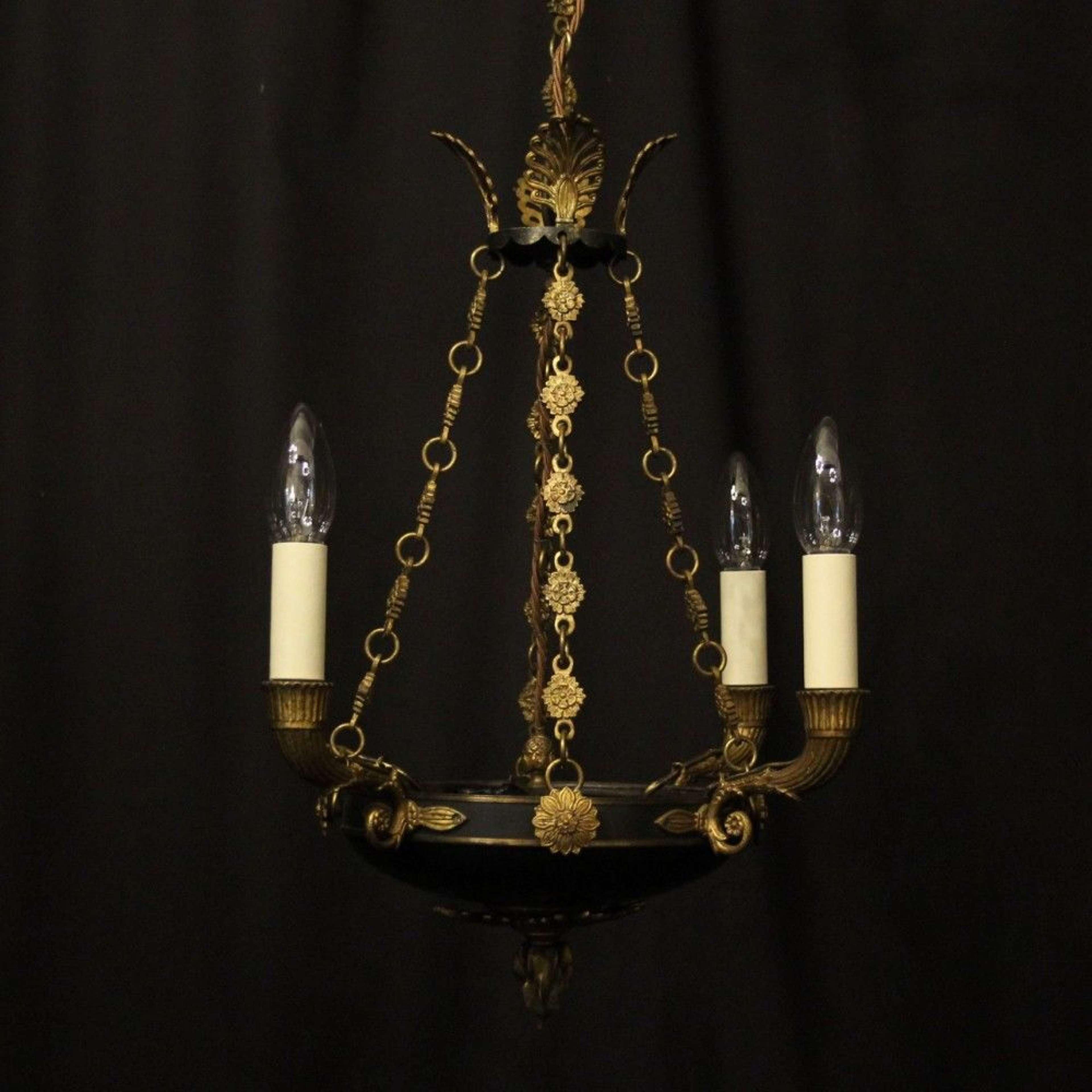 French Gilded Bronze Empire 4 Light Antique Chandelier