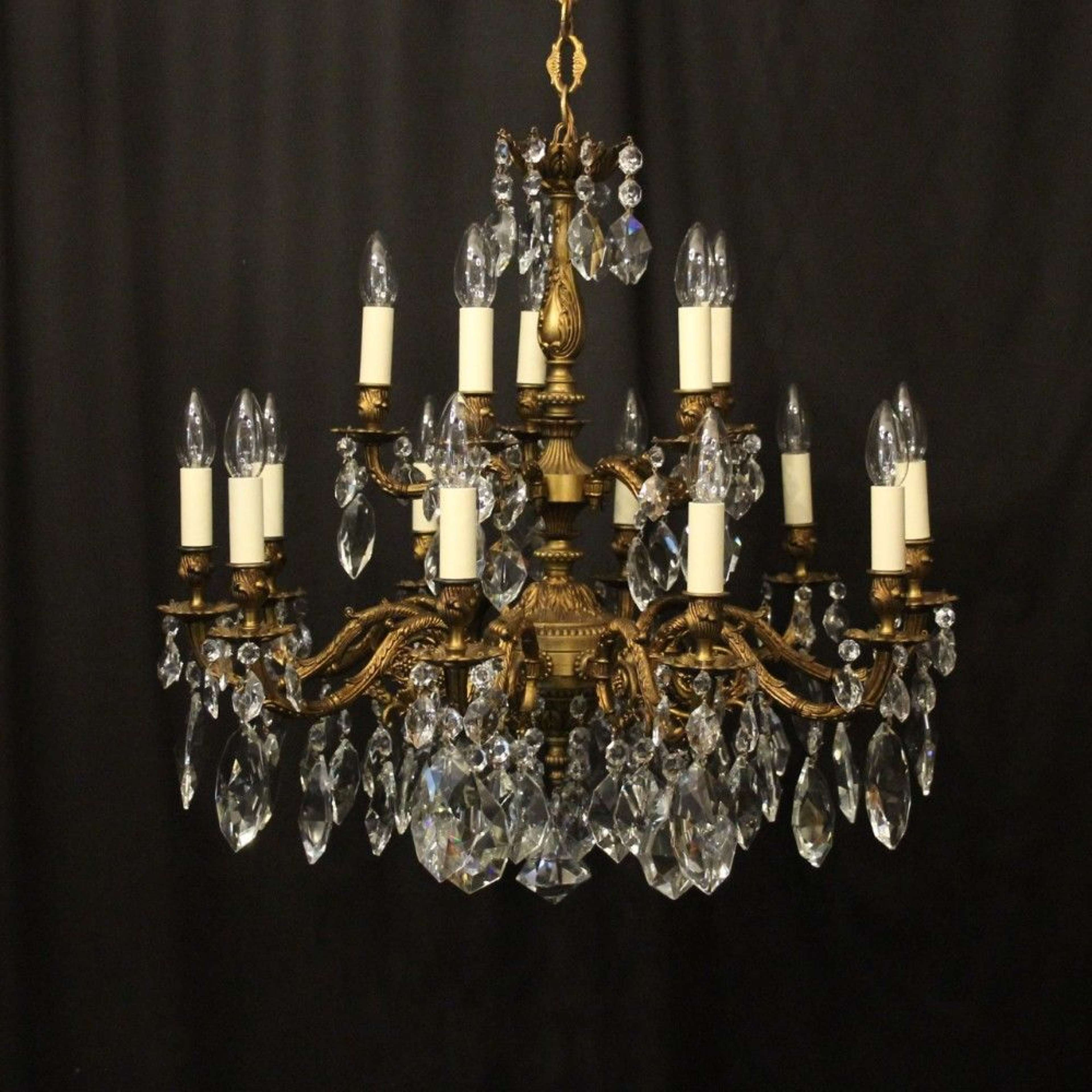 Italian Gilded 15 Light Double Tiered Antique Chandelier