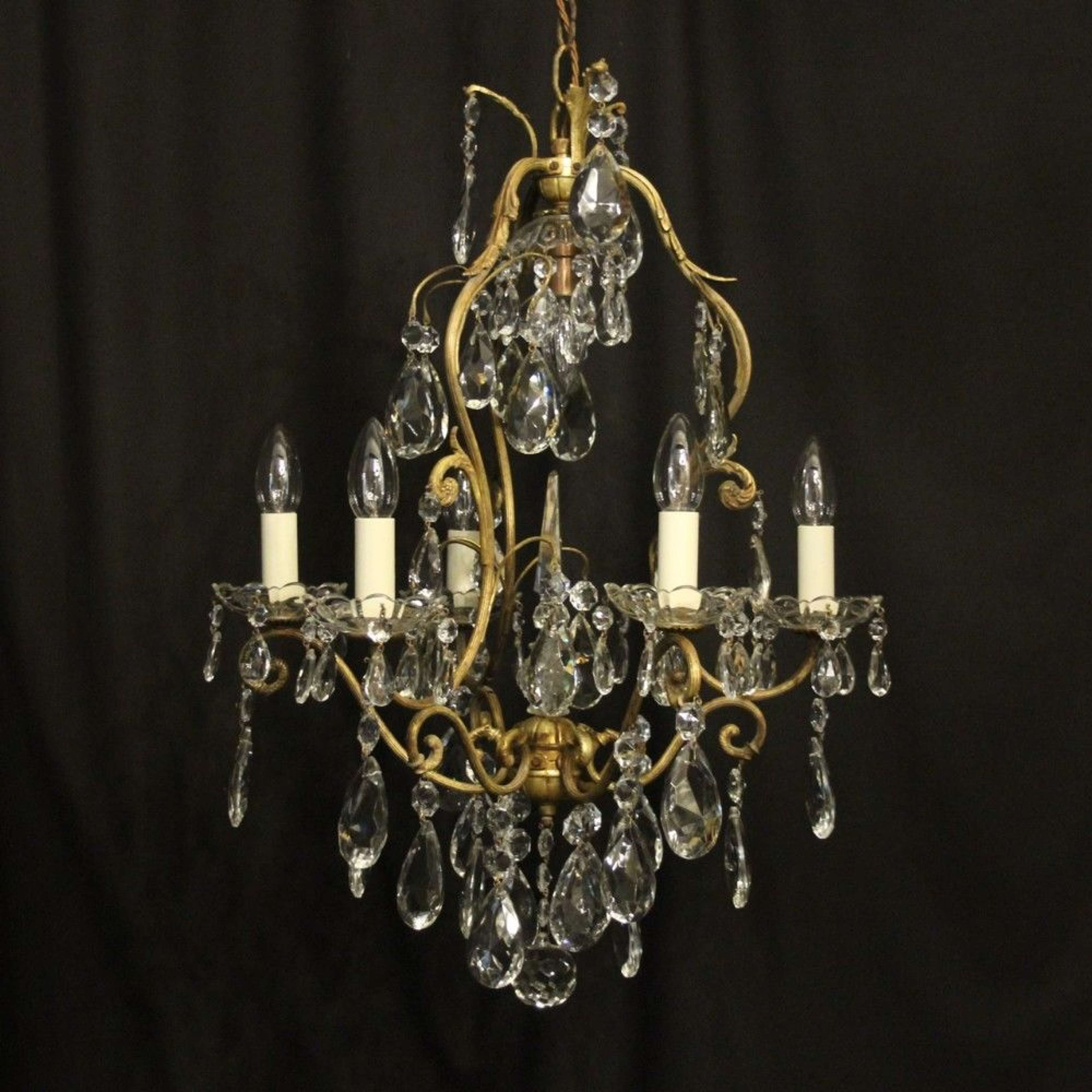 French Gilded Birdcage 7 Light Antique Chandelier
