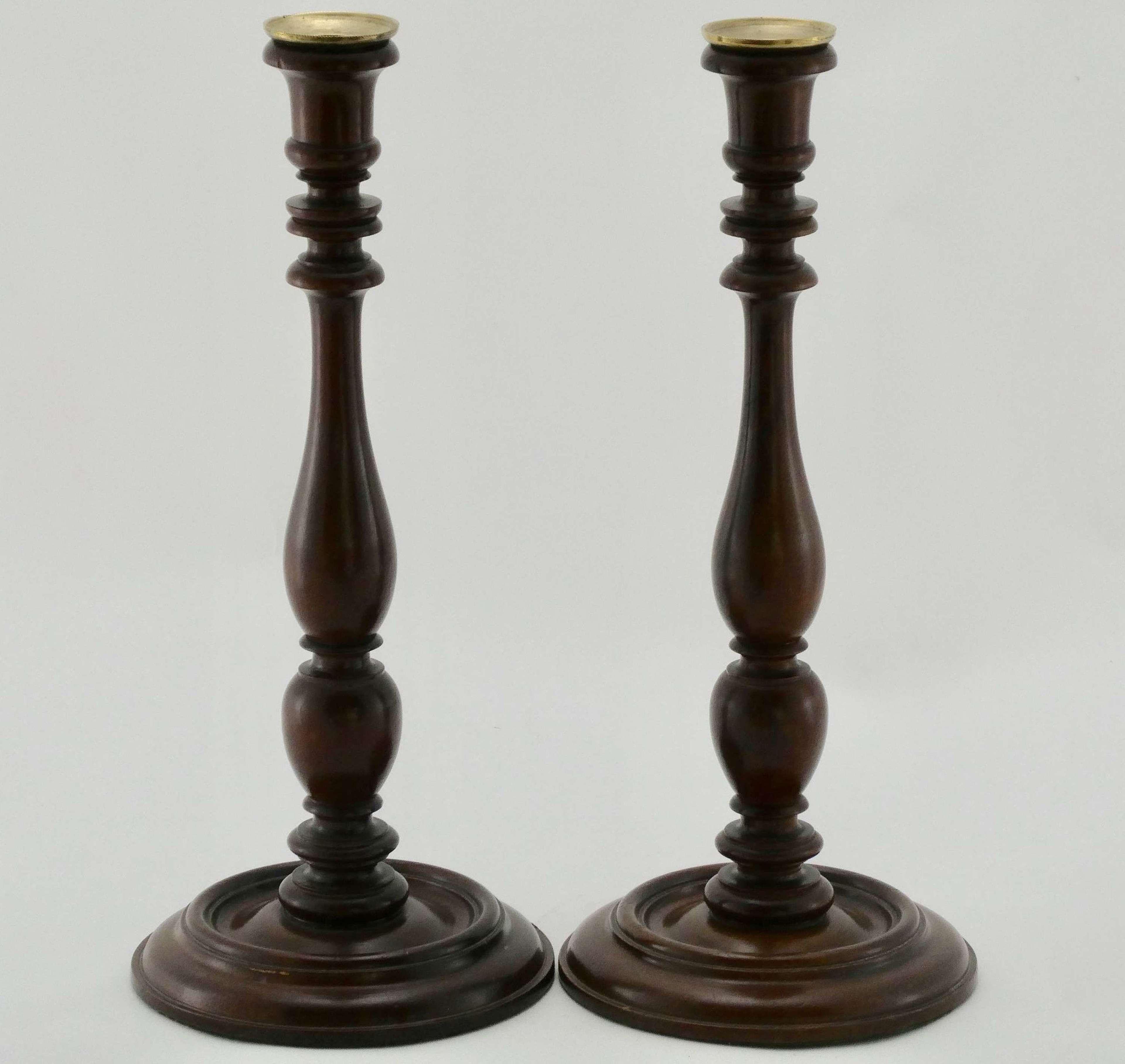 Pair of 19th Century Treen Candlesticks