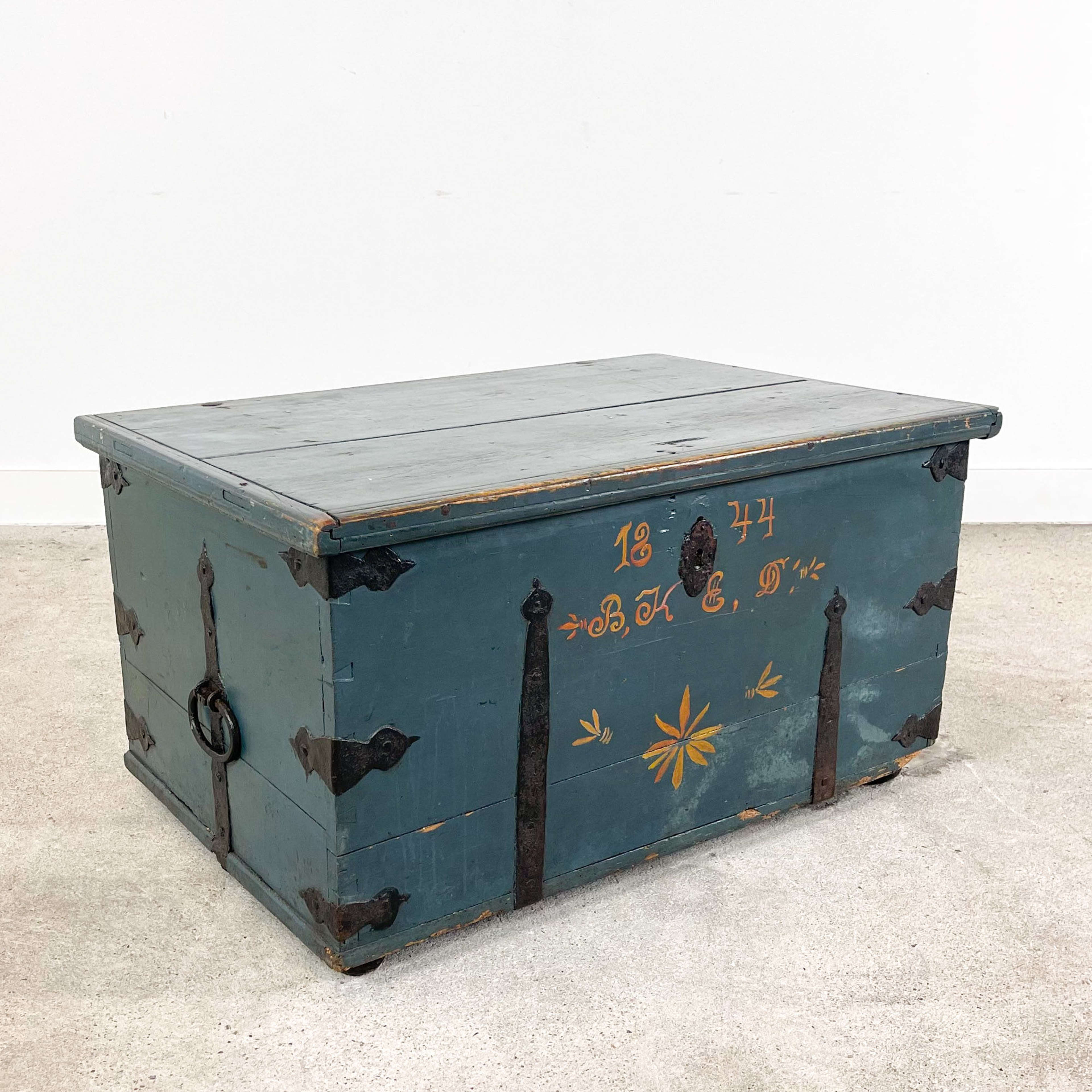 Swedish antique hand painted marriage chest 1844