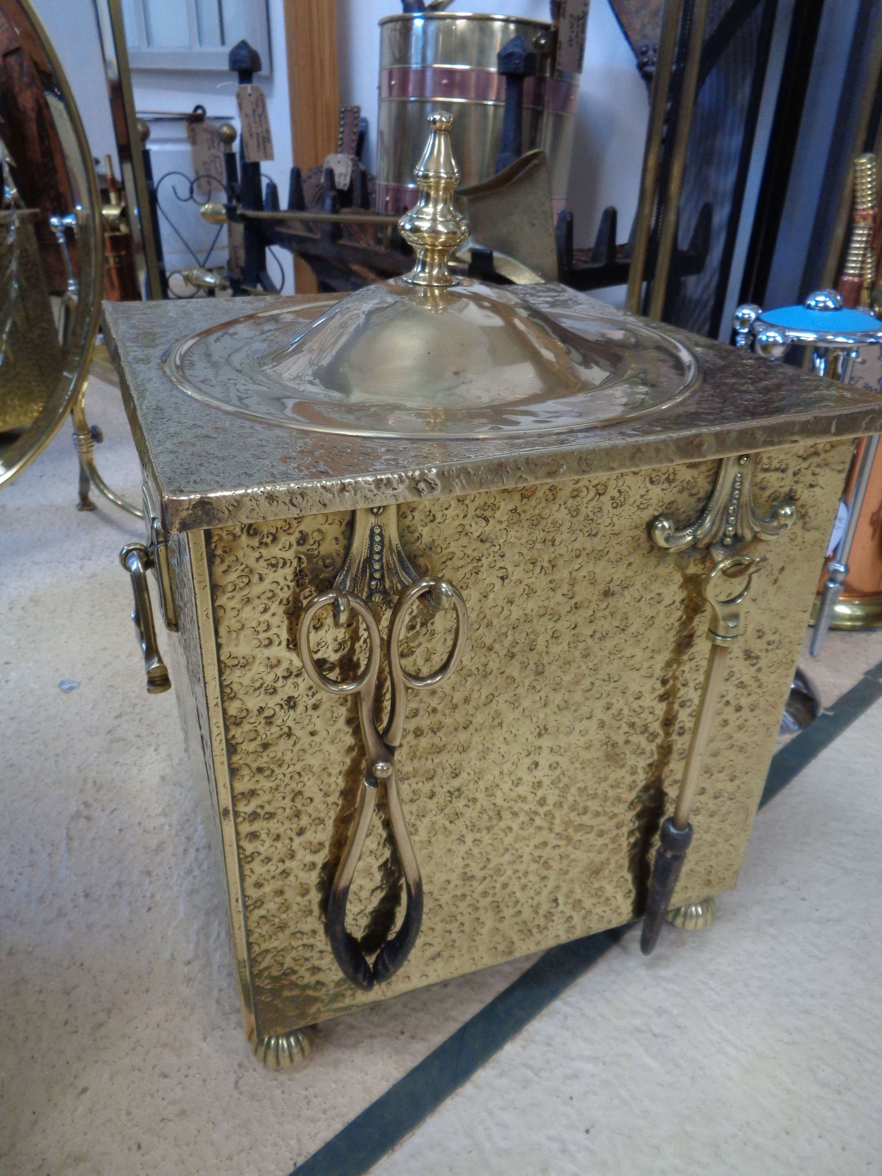Antique Brass Coal Bucket, Lid, Tools & Original Liner