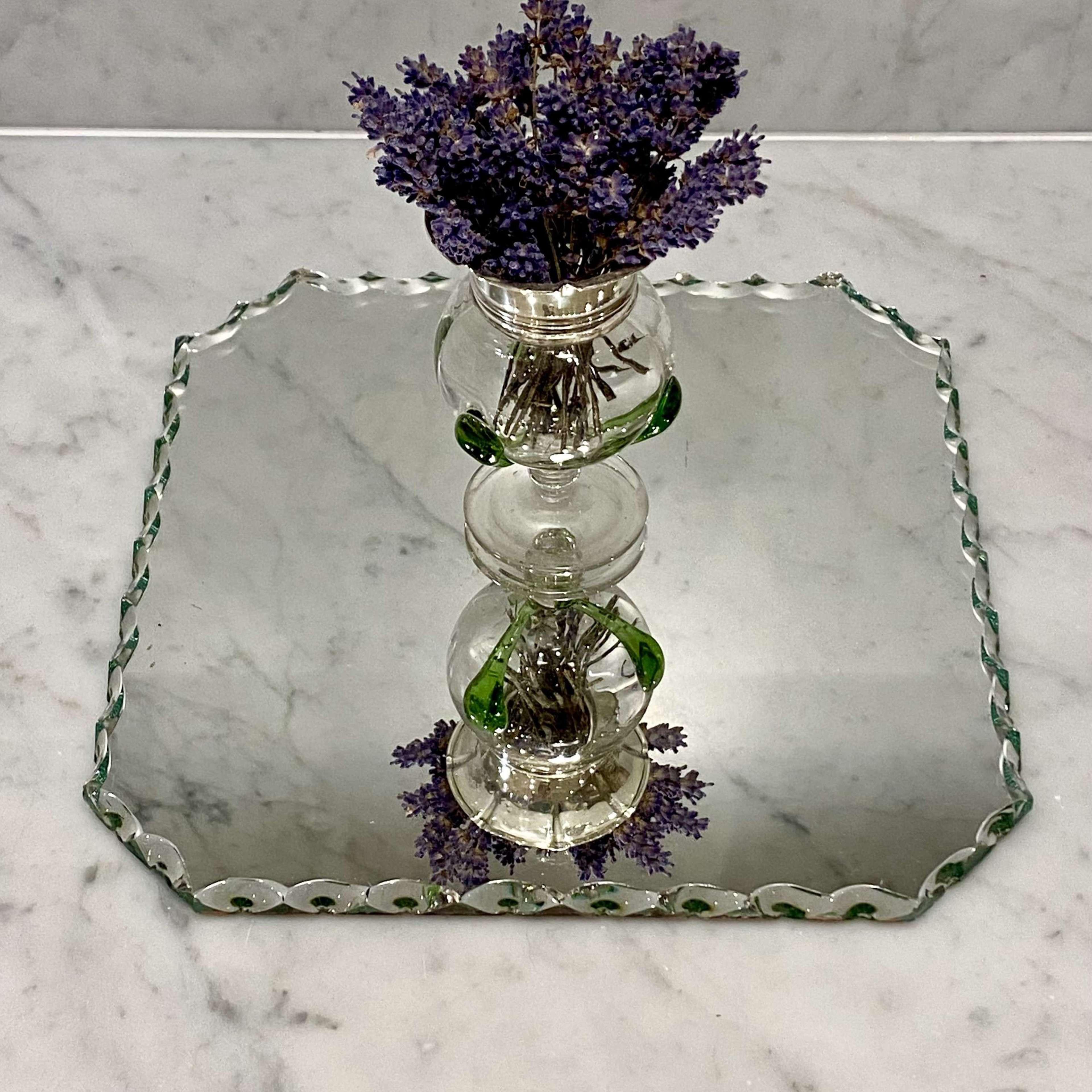 French scallop edge table mirror plateau centrepiece