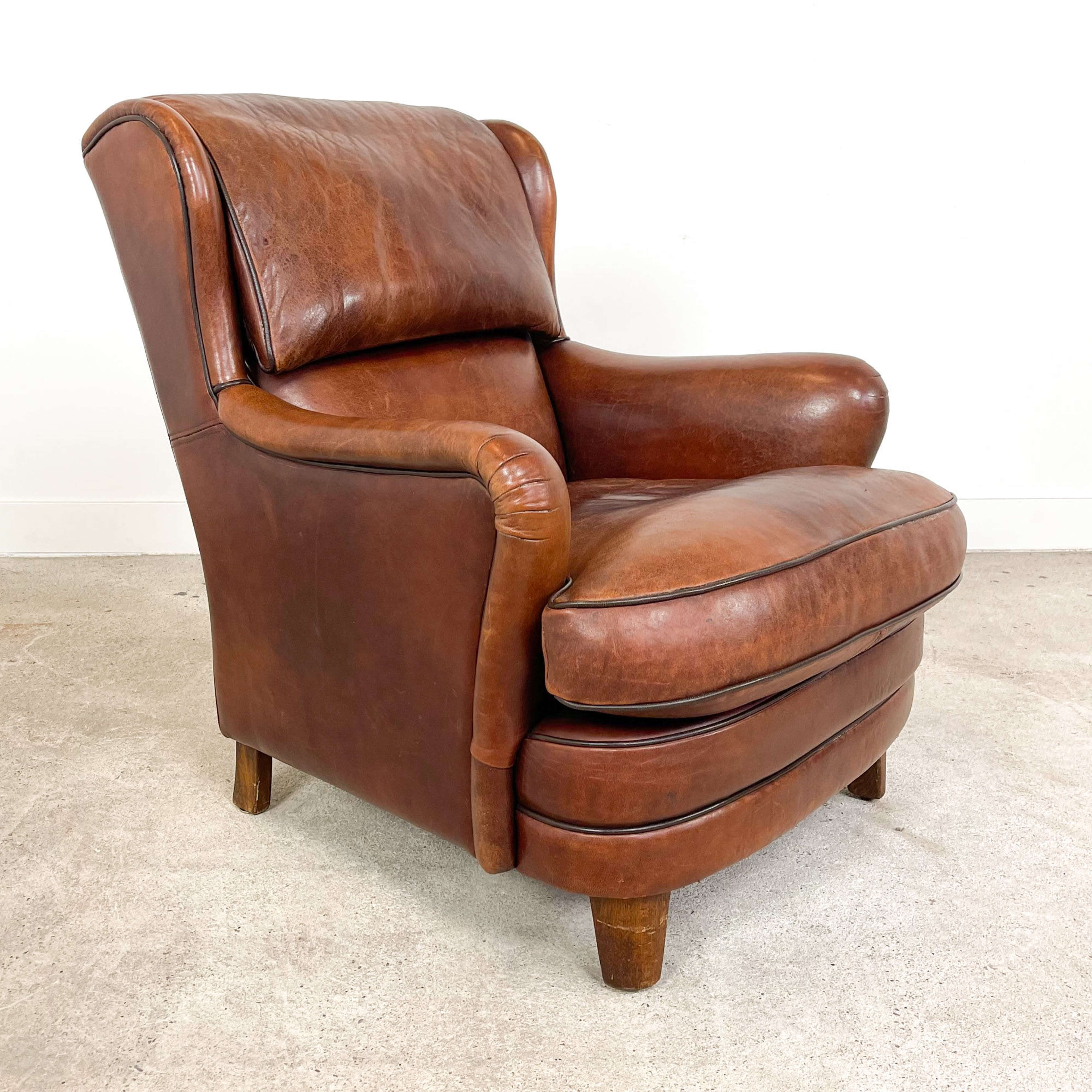 Vintage hand colored sheep leather armchair