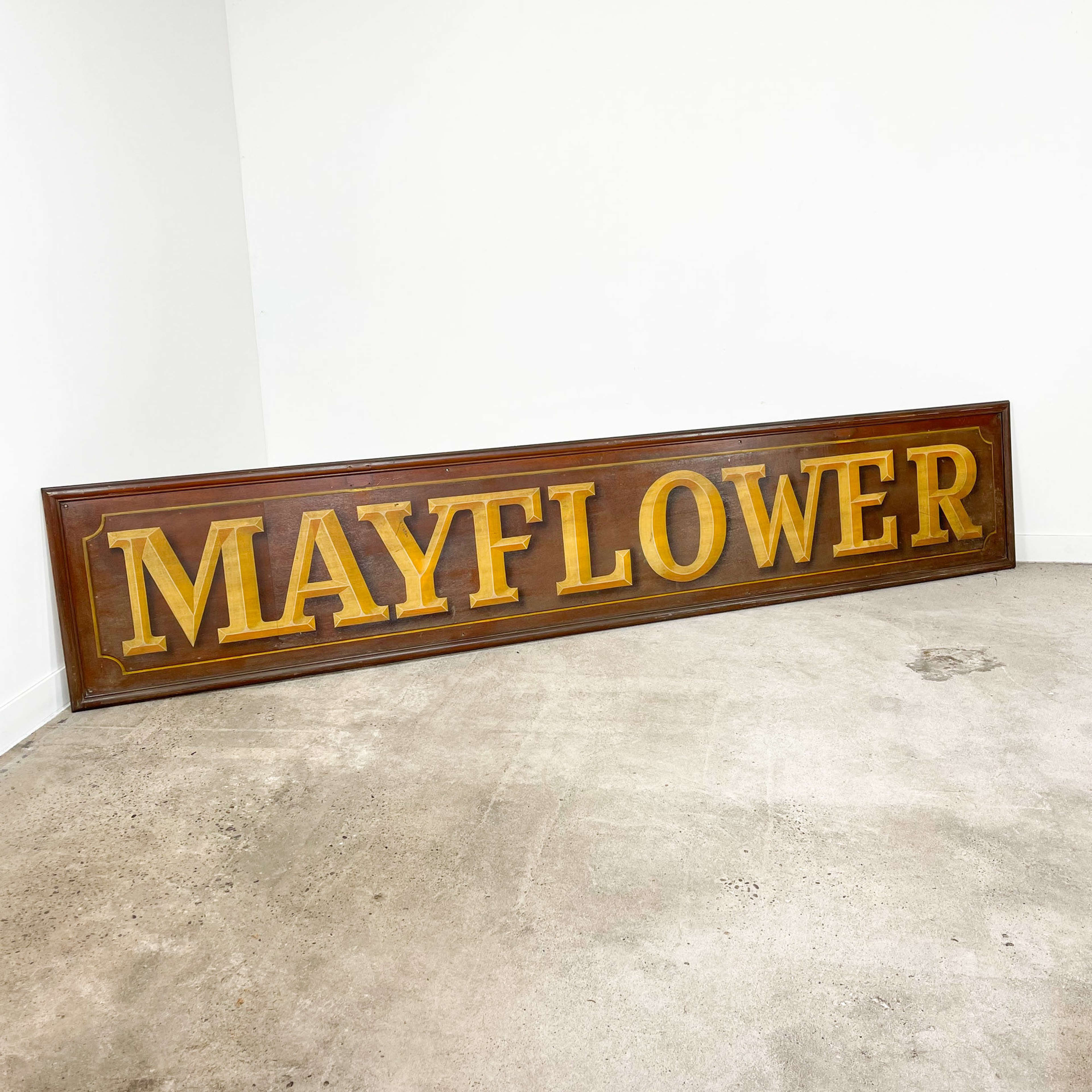 Antique hand painted wooden Mayflower shop sign