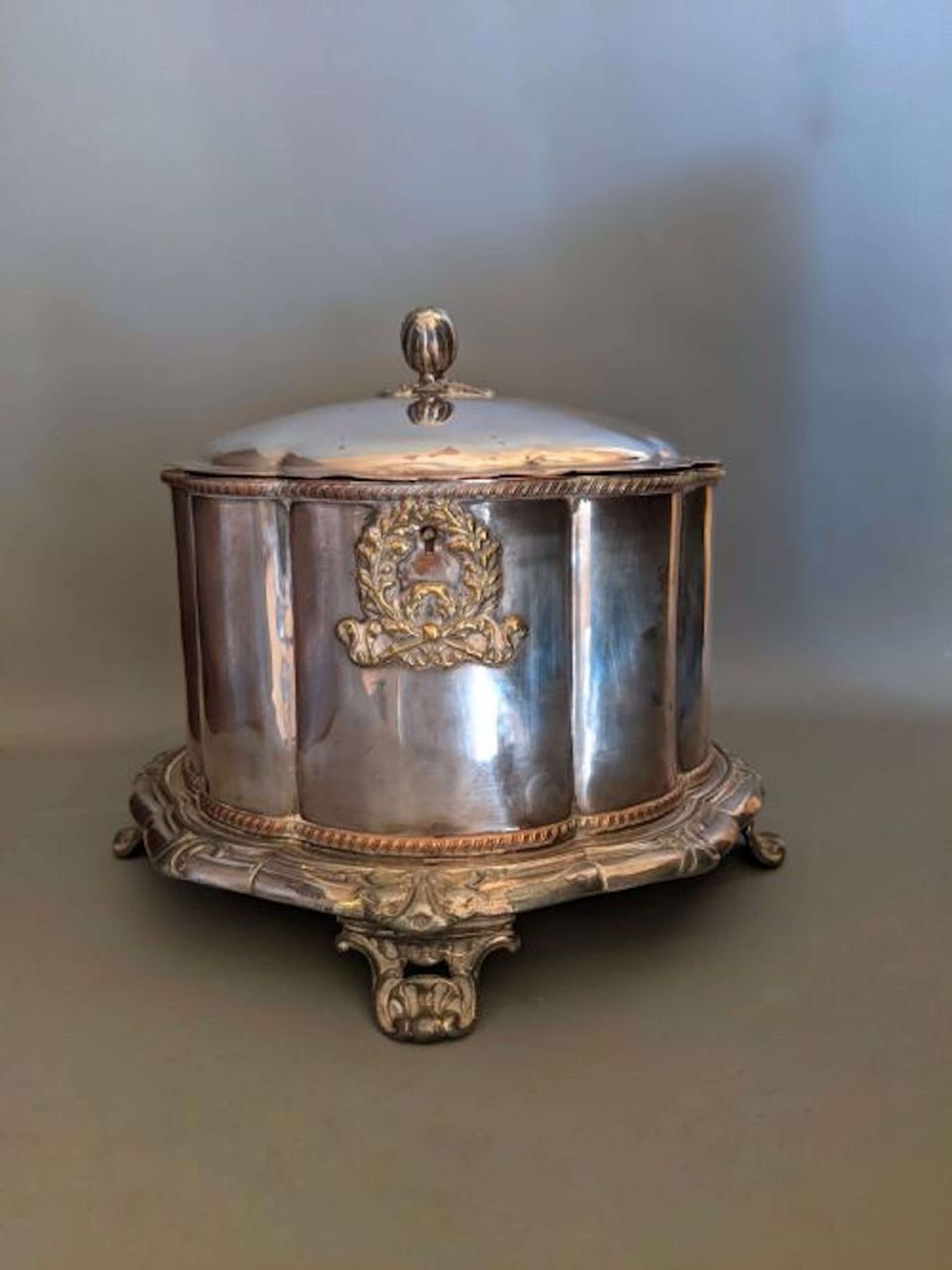 Mid 19th Century Silver Plate Biscuit Tin