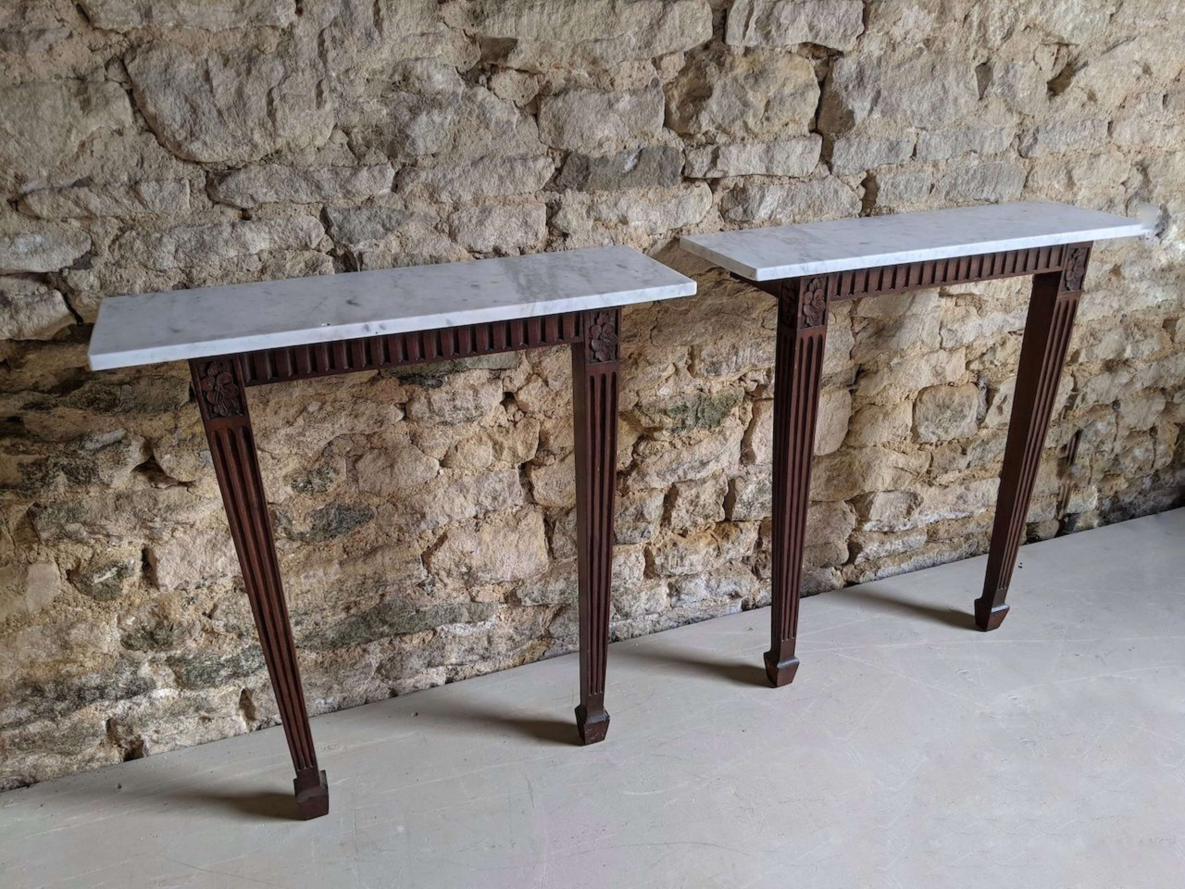 Pair of Console Tables with Marble Top